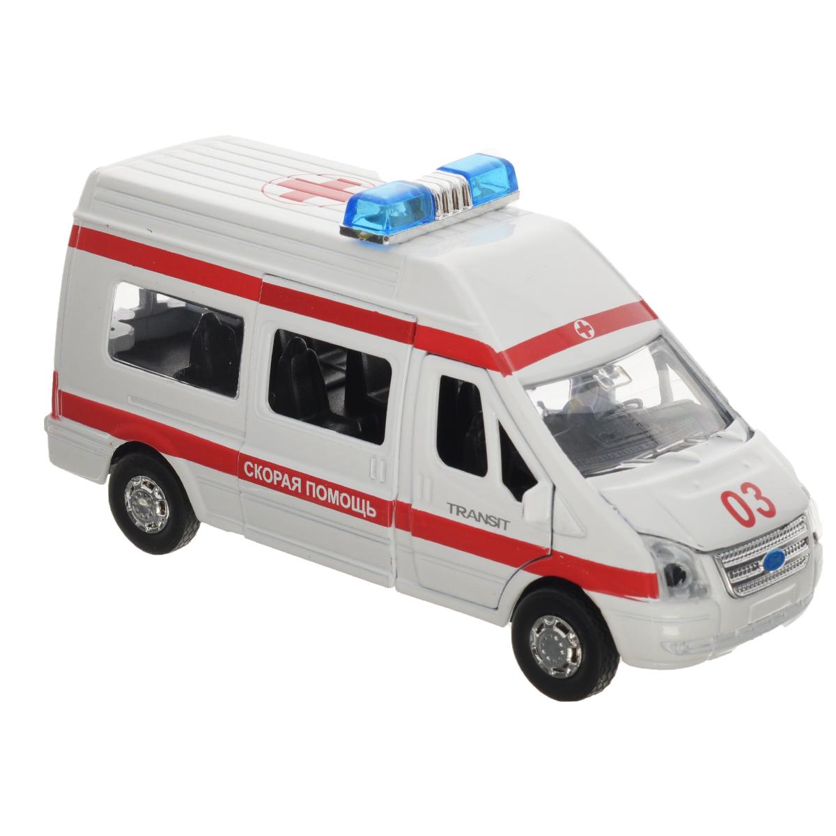 """Машинка инерционная ТехноПарк """"Ford Transit: Скорая помощь"""""""