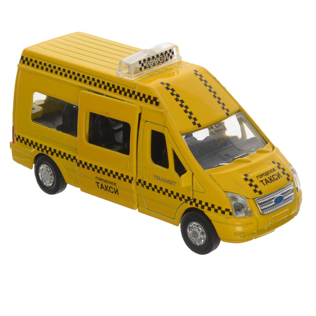 ТехноПарк Машинка инерционная Ford Transit ТаксиSB-13-02-4Инерционная машинка ТехноПарк Ford Transit: Такси, выполненная из пластика и металла, станет любимой игрушкой вашего малыша. Игрушка представляет собой модель автомобиля такси марки Ford Transit. У машинки открываются дверцы кабины, капот, боковая и задняя дверцы. При нажатии на капот модели замигают проблесковые маячки и раздастся звук работающего двигателя. Игрушка оснащена инерционным ходом. Машинку необходимо отвести назад, затем отпустить - и она быстро поедет вперед. Прорезиненные колеса обеспечивают надежное сцепление с любой гладкой поверхностью. Ваш ребенок будет часами играть с этой машинкой, придумывая различные истории. Порадуйте его таким замечательным подарком! Машинка работает от батареек (товар комплектуется демонстрационными).