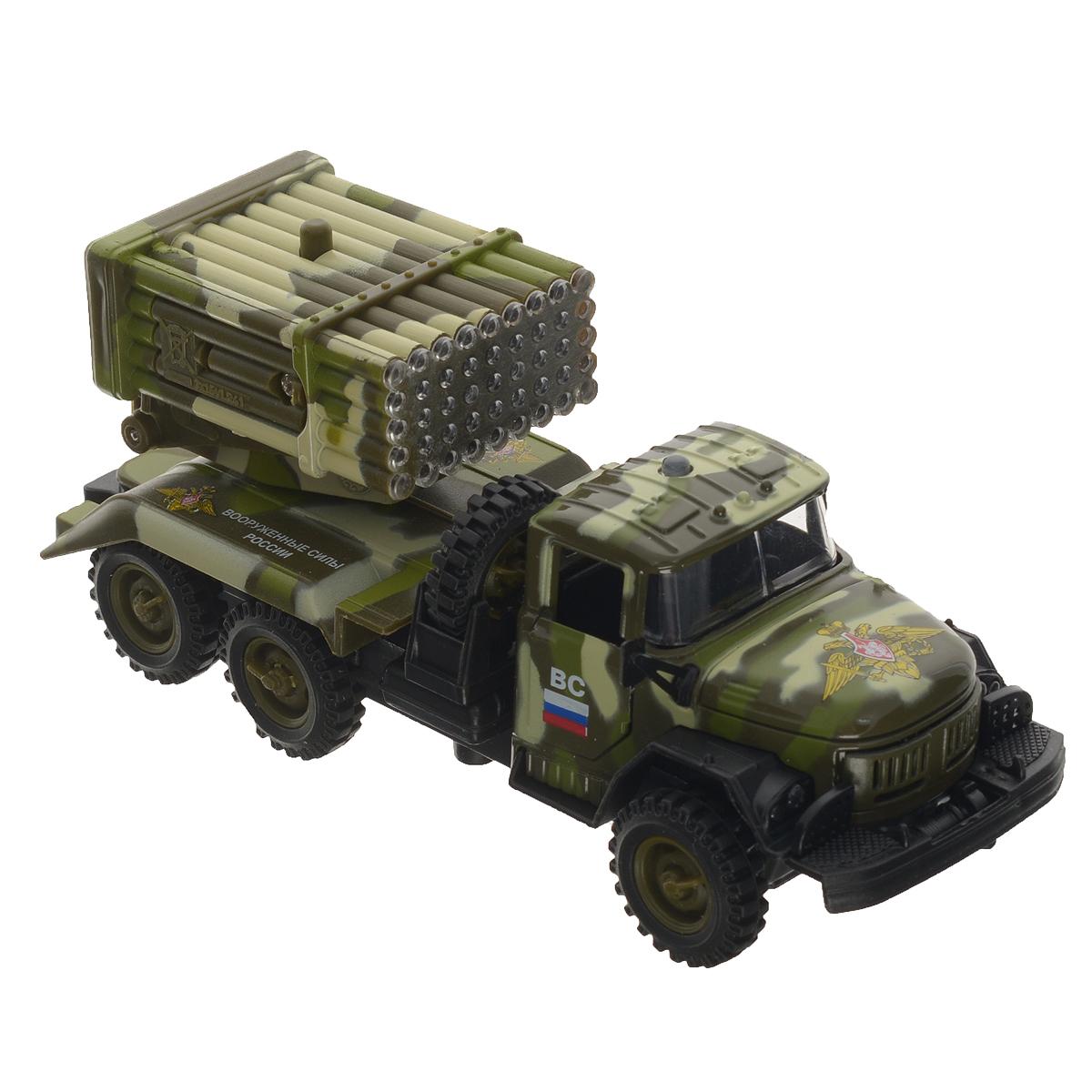 ТехноПарк Машинка инерционная ЗИЛ 131 ВС цвет камуфляжCT10-001-M-2Инерционная машинка ТехноПарк ЗИЛ 131 ВС, выполненная из пластика и металла, станет любимой игрушкой вашего малыша. Игрушка представляет собой модель армейского грузовика марки ЗИЛ 131 с расположенной на месте кузова системой залпового огня. У машинки открываются дверцы кабины, система залпового огня поворачивается на 360 градусов. Между кабиной и кузовом расположено запасное колесо, которое также может быть использовано по назначению. При нажатии на кнопку замигают изображающие огонь лампочки, прозвучат звуки выстрелов и команды военных. Игрушка оснащена инерционным ходом. Машинку необходимо отвести назад, затем отпустить - и она быстро поедет вперед. Прорезиненные колеса обеспечивают надежное сцепление с любой гладкой поверхностью. Ваш ребенок будет часами играть с этой машинкой, придумывая различные истории. Порадуйте его таким замечательным подарком! Машинка работает от батареек (товар комплектуется демонстрационными).