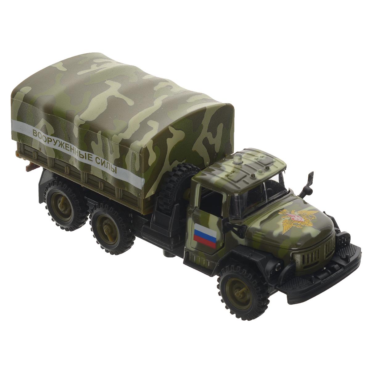 ТехноПарк Машинка инерционная ЗИЛ 131 Вооруженные силыCT10-001-21Инерционная машинка ТехноПарк ЗИЛ 131: Вооруженные силы, выполненная из пластика и металла, станет любимой игрушкой вашего малыша. Игрушка представляет собой модель спецавтомобиля Вооруженных сил Российской Федерации марки ЗИЛ 131. У машинки открываются дверцы кабины и капот, снимается верхняя часть кузова и открывается задний борт. Между кабиной и кузовом расположено запасное колесо, которое также может быть использовано по назначению. При нажатии на кнопку на крыше кабины замигают фары, прозвучат звуки сирены и команды диспетчера. Игрушка оснащена инерционным ходом. Машинку необходимо отвести назад, затем отпустить - и она быстро поедет вперед. Прорезиненные колеса обеспечивают надежное сцепление с любой гладкой поверхностью. Ваш ребенок будет часами играть с этой машинкой, придумывая различные истории. Порадуйте его таким замечательным подарком! Машинка работает от батареек (товар комплектуется демонстрационными).