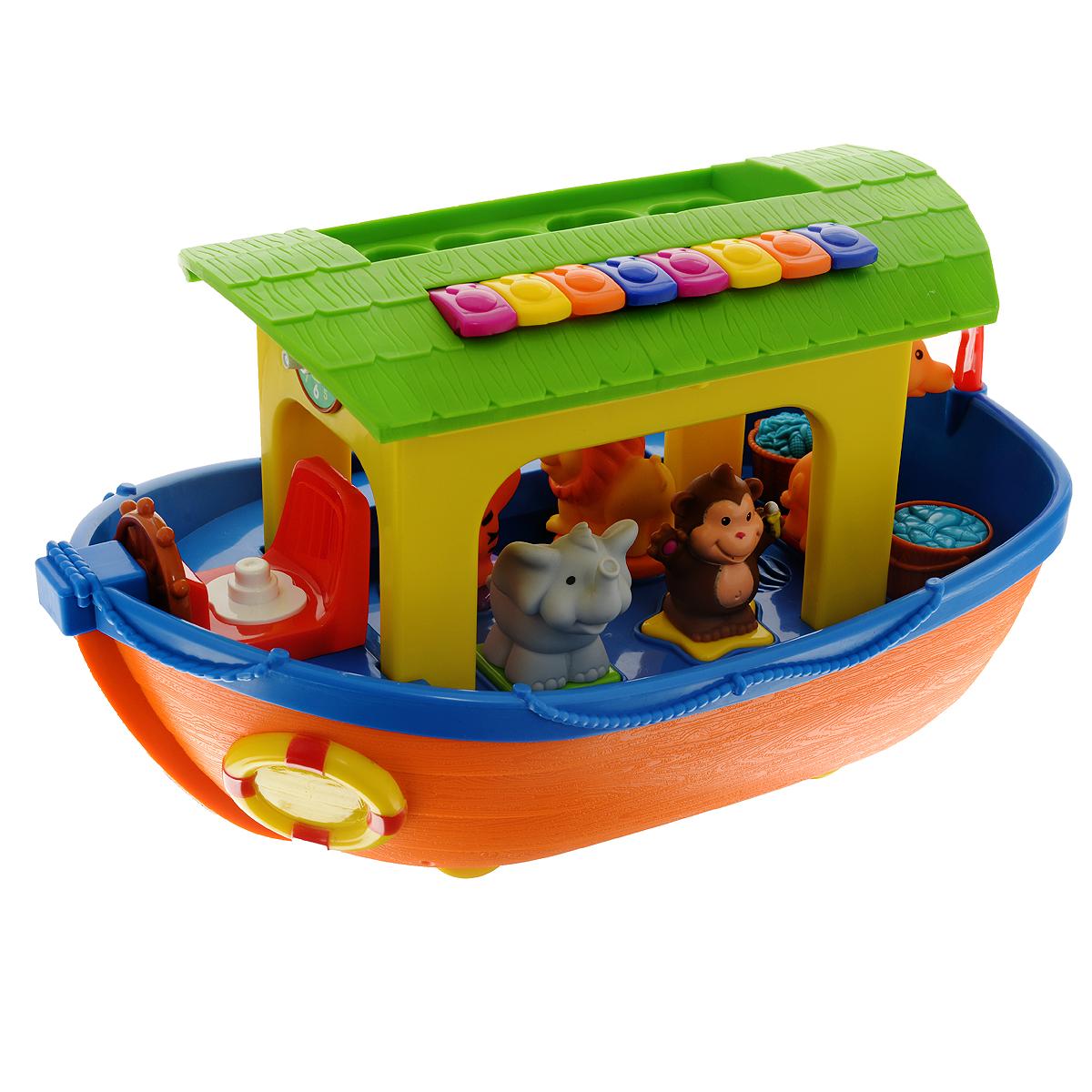 Развивающая игрушка Kiddieland Ноев ковчегKID 049734Яркая развивающая игрушка Kiddieland Ноев ковчег непременно понравится любому малышу. Она выполнена из прочного безопасного пластика ярких цветов в виде вместительного ковчега Ноя с животными: овечкой, свинкой, коровкой, лошадкой, львенком, тигренком, слоником, обезьянкой и жирафом. Дикие животные путешествуют на нижней палубе, домашние - удобно устроились на верхней. Фигурки животных ребенок должен вставлять в соответствующие отверстия геометрических фигур по принципу сортера. Если малыш справляется с задачей успешно, животные читают стишки на русском языке, издают соответствующие реалистичные звуки. Игрушка русифицирована и озвучена русскими актерами. При нажатии на животных и разные кнопки звучат стихи на русском языке. За штурвалом ковчега Ной. При повороте штурвала против часовой стрелки раздается звон колокола, по часовой - звук корабельного двигателя или плеск воды. При нажатии на бочонки с рыбой звучат веселые стишки, а Ной поет песню о Ковчеге. На крыше кораблика...