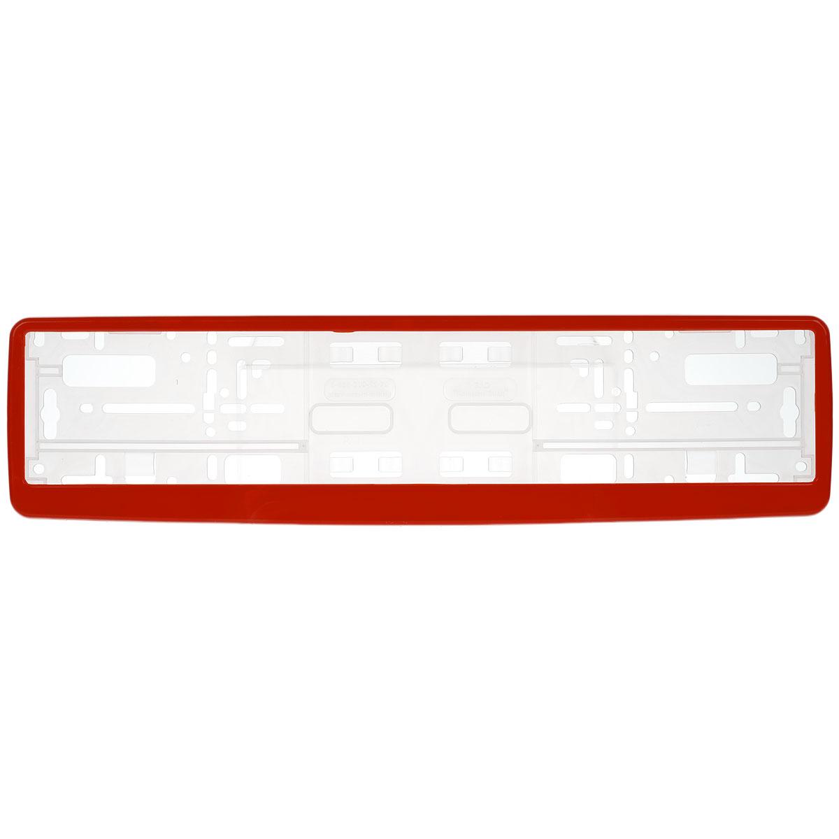 Рамка под номер Концерн Знак, цвет: красныйЗ0000012306Рамка Концерн Знак не только закрепит регистрационный знак на вашем автомобиле, но и красиво его оформит. Основание рамки выполнено из полипропилена, материал лицевой панели - пластик. Она предназначена для крепления регистрационного знака российского и европейского образца. Устанавливается на все типы автомобилей. Крепления в комплект не входят. Стильный дизайн идеально впишется в экстерьер вашего автомобиля. Размер рамки: 53,5 см х 13,5 см. Размер регистрационного знака: 52,5 см х 11,5 см.
