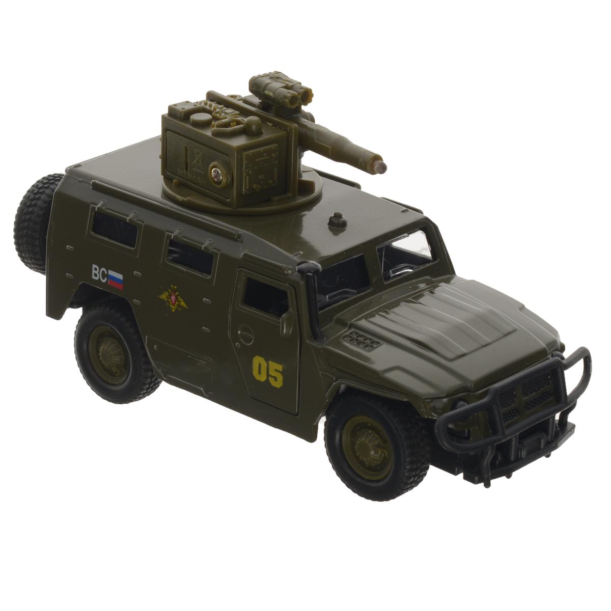 ТехноПарк Машинка инерционная ГАЗ Тигр цвет темно-зеленыйCT12-357-G1Машинка ТехноПарк ГАЗ Тигр, выполненная из металла и пластика, станет любимой игрушкой вашего малыша. Игрушка представляет собой военный внедорожник ГАЗ Тигр, оснащенный открывающимися дверьми и капотом, а также вращающейся башней с пушкой. При нажатии кнопки на пушке кончик дула начинает светиться, при этом слышны звуки стрельбы и команды Огонь! В атаку!. Игрушка оснащена инерционным ходом. Внедорожник необходимо отвести назад, слегка надавив на крышу, затем отпустить - и машинка быстро поедет вперед. Прорезиненные колеса обеспечивают надежное сцепление с любой поверхностью пола. Ваш ребенок будет часами играть с этой машинкой, придумывая различные истории. Порадуйте его таким замечательным подарком! Машинка работает от батареек (товар комплектуется демонстрационными).