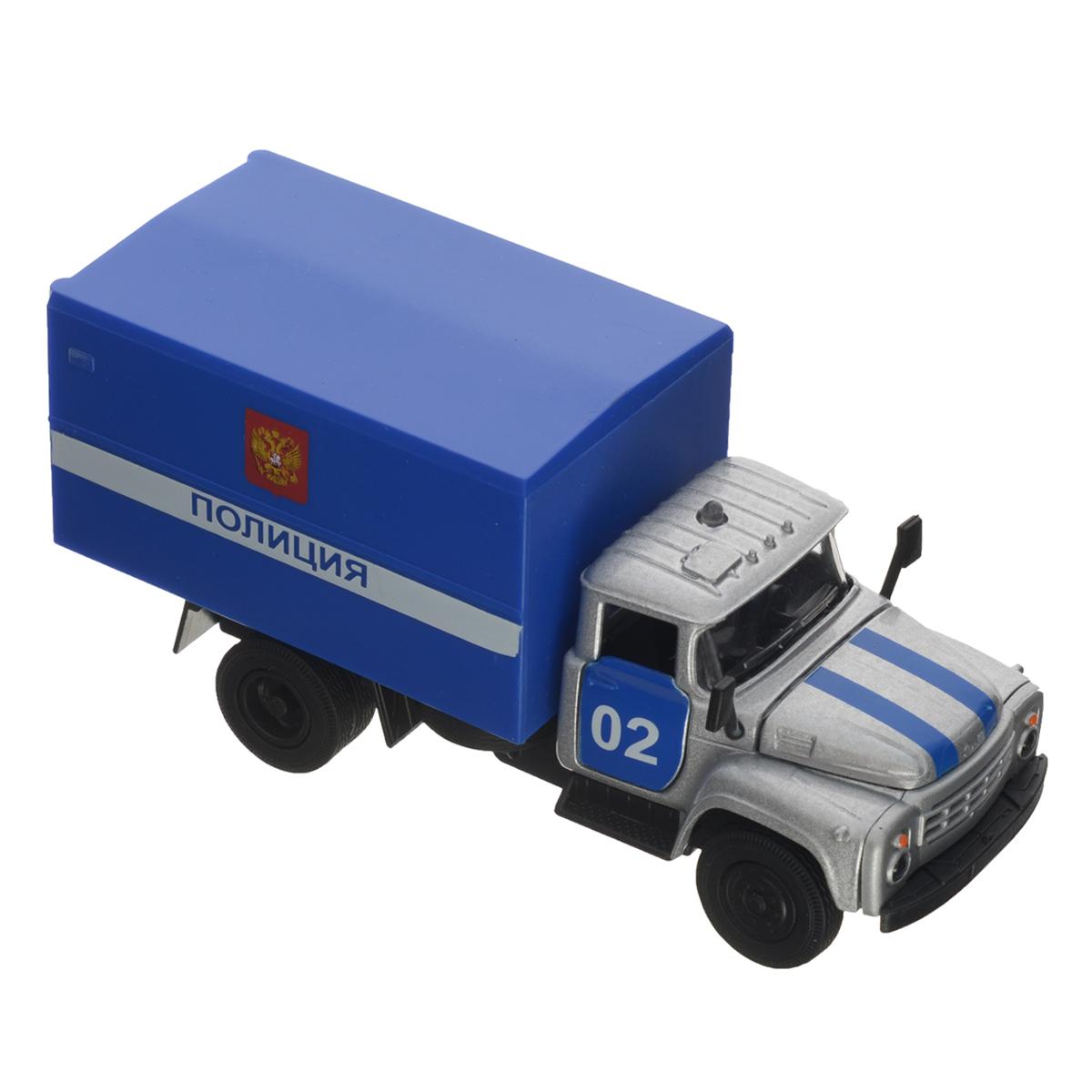 ТехноПарк Машинка инерционная ЗИЛ 130 Полиция цвет серый синийCT10-057-21Инерционная машинка ТехноПарк ЗИЛ 130: Полиция, выполненная из пластика и металла, станет любимой игрушкой вашего малыша. Игрушка представляет собой модель полицейского автомобиля марки ЗИЛ 130. У машинки открывается капот, дверцы кабины и кузова. При нажатии на кнопку на крыше кабины замигают фары, прозвучат звуки сирены и команды диспетчера. Игрушка оснащена инерционным ходом. Машинку необходимо отвести назад, затем отпустить - и она быстро поедет вперед. Прорезиненные колеса обеспечивают надежное сцепление с любой гладкой поверхностью. Ваш ребенок будет часами играть с этой машинкой, придумывая различные истории. Порадуйте его таким замечательным подарком! Машинка работает от батареек (товар комплектуется демонстрационными).