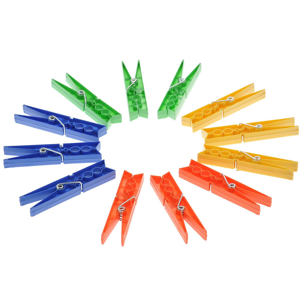 Прищепки цветные Хозяюшка Мила Большие, 12 шт36047Большие прищепки, изготовленные из пластика, станут незаменимыми для любой хозяйки. Изделия выполнены в четырех цветах: зеленом, синем, желтом и оранжевом. В наборе - 12 прищепок. Длина прищепки: 10 см. Комплектация: 12 шт.