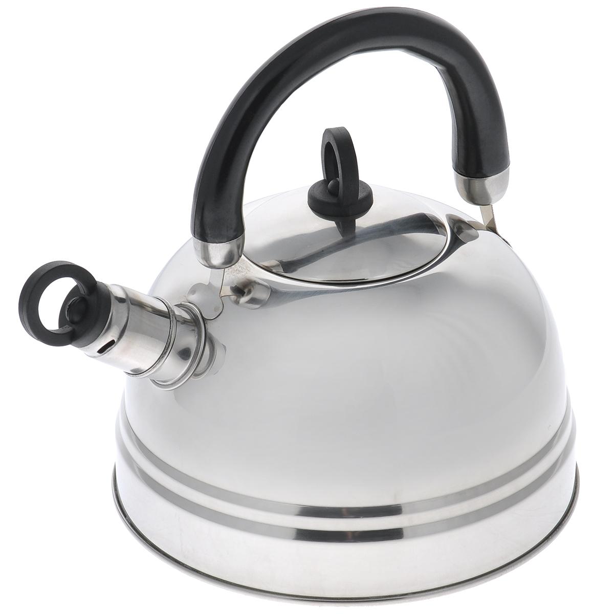 Чайник Bekker Koch, со свистком, цвет: черный, 2,5 л. BK-S367MBK-S367МчёрныйЧайник Bekker Koch изготовлен из высококачественной нержавеющей стали с зеркальной полировкой. Капсулированное дно распределяет тепло по всей поверхности, что позволяет чайнику быстро закипать. Эргономичная подвижная ручка выполнена из бакелита оригинального дизайна. Носик оснащен съемным свистком, который подскажет, когда вода закипела. Можно мыть мыть в посудомоечной машине. Толщина стенок: 0,4 мм. Высота чайника (без учета ручки): 12 см. Высота чайника (с учетом ручки): 22,5 см.