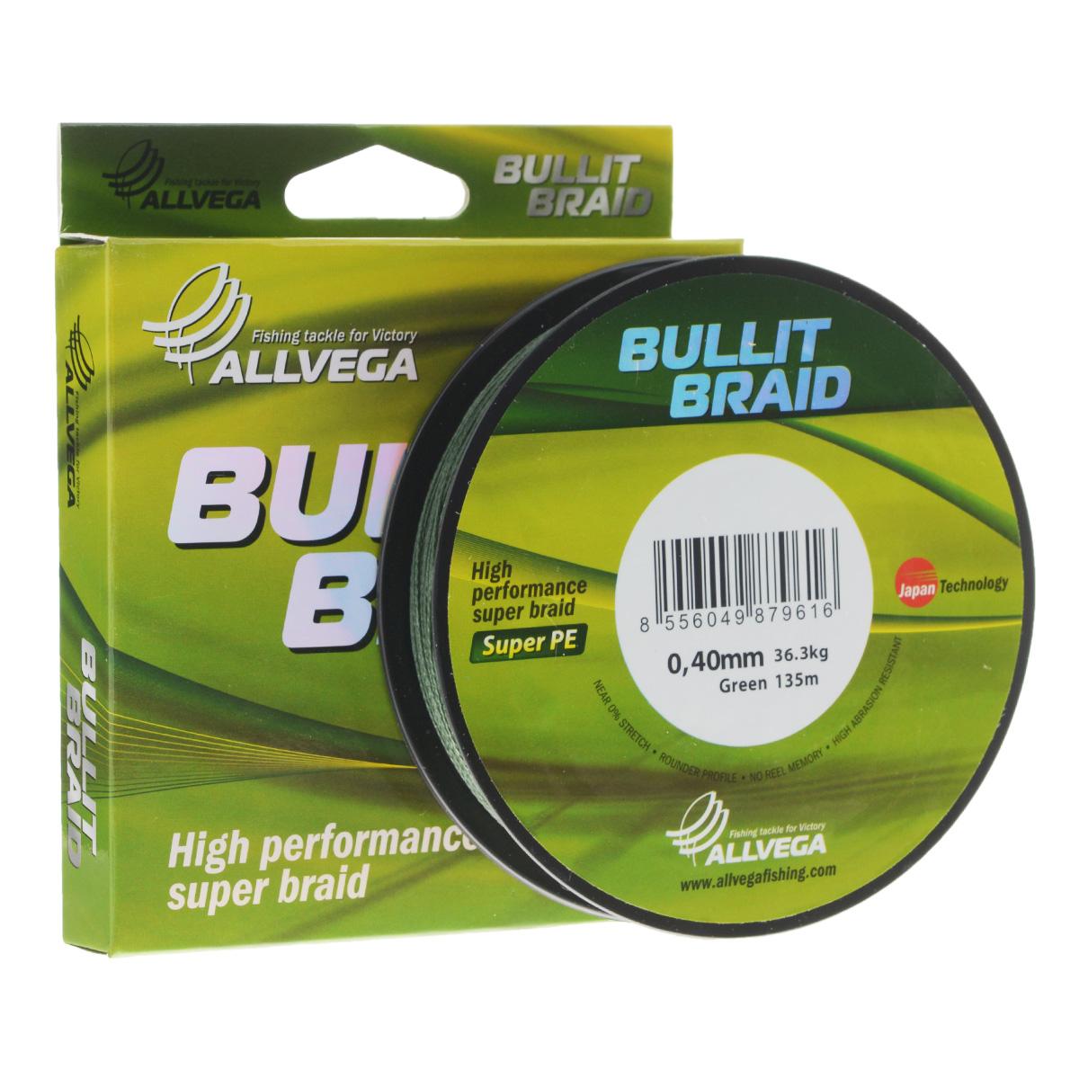 Леска плетеная Allvega Bullit Braid, цвет: темно-зеленый, 135 м, 0,40 мм, 36,3 кг32046Леска Allvega Bullit Braid с гладкой поверхностью и одинаковым сечением по всей длине обладает высокой износостойкостью. Благодаря микроволокнам полиэтилена (Super PE) леска имеет очень плотное плетение и не впитывает воду. Леску Allvega Bullit Braid можно применять в любых типах водоемов. Особенности: повышенная износостойкость; высокая чувствительность - коэффициент растяжения близок к нулю; отсутствует память; идеально гладкая поверхность позволяет увеличить дальность забросов; высокая прочность шнура на узлах.