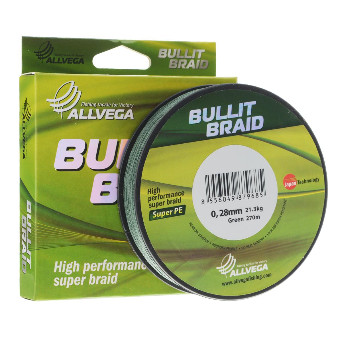 Леска плетеная Allvega Bullit Braid, цвет: темно-зеленый, 270 м, 0,28 мм, 21,3 кг25833Леска Allvega Bullit Braid с гладкой поверхностью и одинаковым сечением по всей длине обладает высокой износостойкостью. Благодаря микроволокнам полиэтилена (Super PE) леска имеет очень плотное плетение и не впитывает воду. Леску Allvega Bullit Braid можно применять в любых типах водоемов. Особенности: повышенная износостойкость; высокая чувствительность - коэффициент растяжения близок к нулю; отсутствует память; идеально гладкая поверхность позволяет увеличить дальность забросов; высокая прочность шнура на узлах.