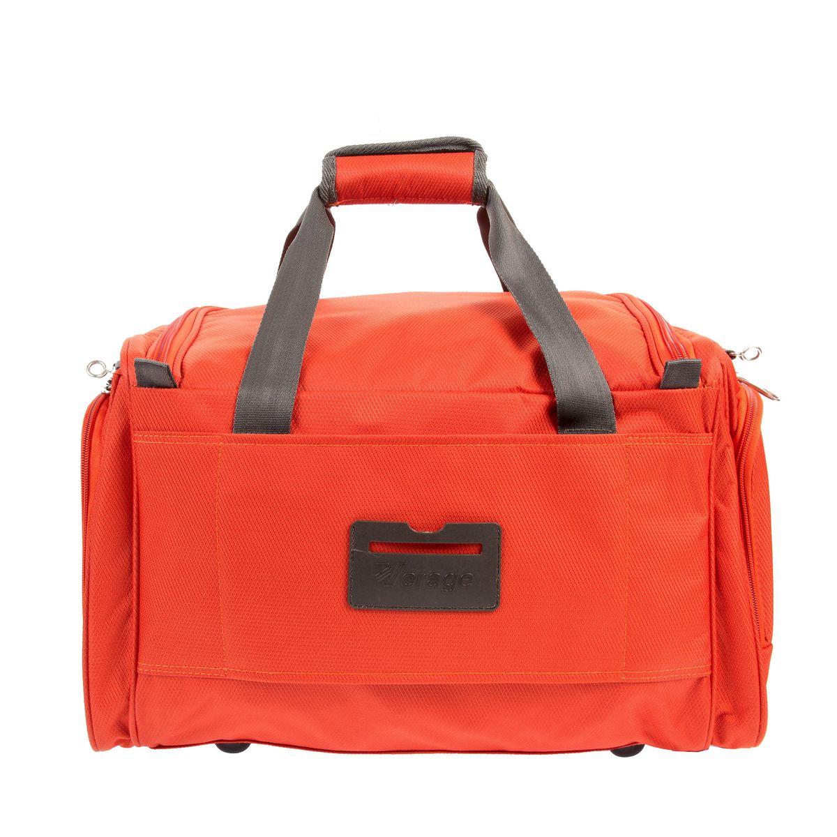 Сумка Verage, цвет: оранжевый, 40 л. GM12091-A-4 16GM12091-A-4 16 orangeСумка Verage отлично подойдет для полетов. Выполнена из прочного полиэстера. Имеет 1 основное отделение, которое закрывается на двустороннюю молнию. Внутри расположен один большой отдел. На задней стенке крепление на ручку чемодана. На передней стенке карман на застежке-молнии. По бокам также расположено 2 кармана на застежке-молнии. Сумка оснащена съемным регулируемым плечевым ремнем и ручками для удобной переноски. На дне 4 ножки. В комплекте замочек с ключом.