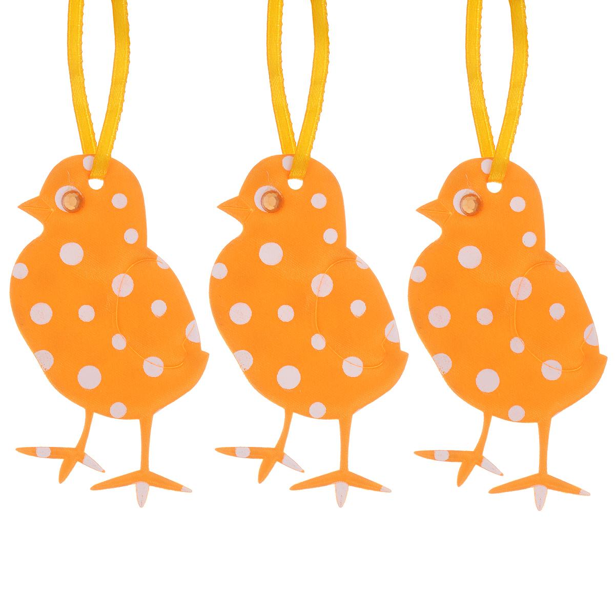 Набор пасхальных подвесных украшений Home Queen Цыплята, цвет: оранжевый, 3 шт58234_5Набор Home Queen Цыплята, изготовленный из полиэстера, состоит из трех пасхальных подвесных украшений. Изделия выполнены в виде цыплят с мягким наполнителем, декорированы принтом в горох и оснащены текстильными петельками для подвешивания. Такой набор прекрасно дополнит оформление вашего дома на Пасху. Размер украшения: 8 см х 4 см х 0,3 см.