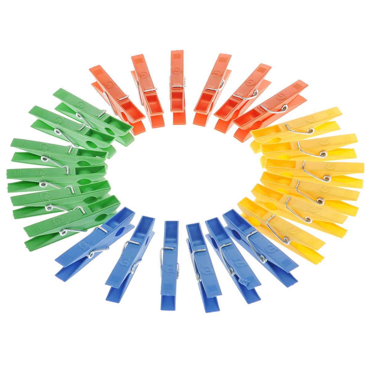 Прищепки цветные Хозяюшка Мила, малые, 24 шт36046Прищепки Хозяюшка Мила, изготовленные из пластика, станут незаменимыми для любой хозяйки. Изделия выполнены в четырех цветах: зеленом, синем, желтом и оранжевом. В наборе - 24 прищепки. Длина прищепки: 7 см. Комплектация: 24 шт.
