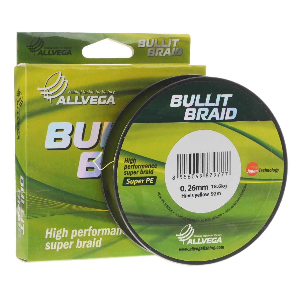 Леска плетеная Allvega Bullit Braid, цвет: ярко-желтый, 92 м, 0,26 мм, 18,6 кг21436Леска Allvega Bullit Braid с гладкой поверхностью и одинаковым сечением по всей длине обладает высокой износостойкостью. Благодаря микроволокнам полиэтилена (Super PE) леска имеет очень плотное плетение и не впитывает воду. Леску Allvega Bullit Braid можно применять в любых типах водоемов. Особенности: повышенная износостойкость; высокая чувствительность - коэффициент растяжения близок к нулю; отсутствует память; идеально гладкая поверхность позволяет увеличить дальность забросов; высокая прочность шнура на узлах.