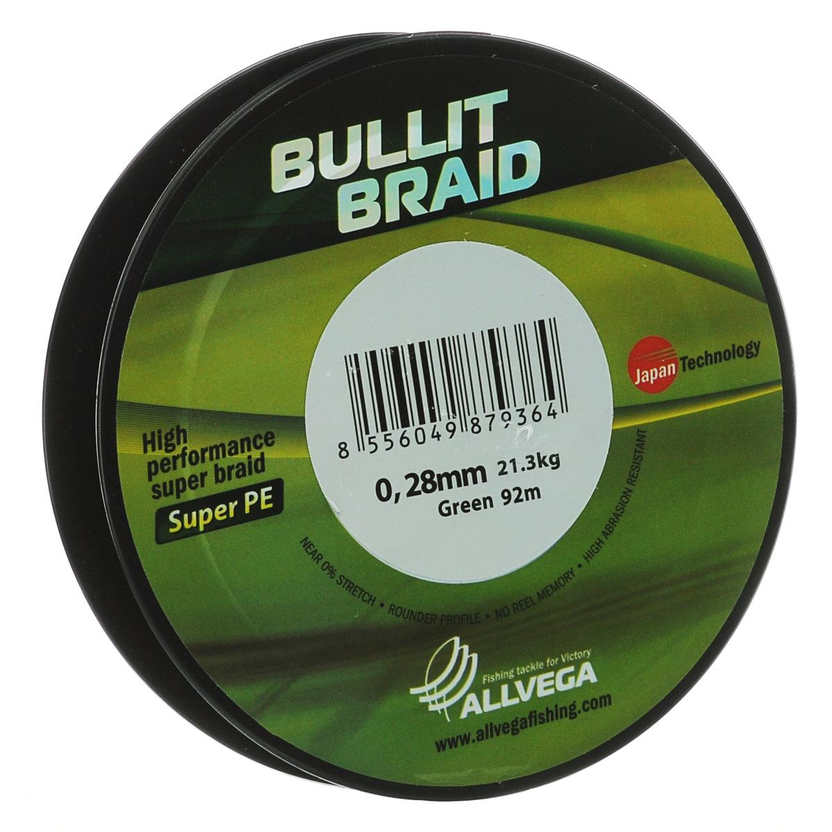 Леска плетеная Allvega Bullit Braid, цвет: темно-зеленый, 92 м, 0,28 мм, 21,3 кг21427Леска Allvega Bullit Braid с гладкой поверхностью и одинаковым сечением по всей длине обладает высокой износостойкостью. Благодаря микроволокнам полиэтилена (Super PE) леска имеет очень плотное плетение и не впитывает воду. Леску Allvega Bullit Braid можно применять в любых типах водоемов. Особенности: - повышенная износостойкость; - высокая чувствительность - коэффициент растяжения близок к нулю; - отсутствует память; - идеально гладкая поверхность позволяет увеличить дальность забросов; - высокая прочность шнура на узлах.