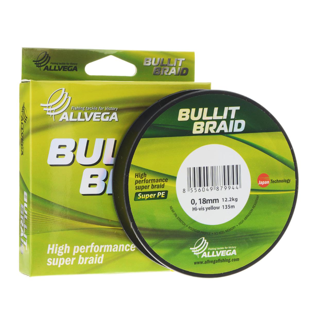 Леска плетеная Allvega Bullit Braid, цвет: ярко-желтый, 135 м, 0,18 мм, 12,2 кг21453Леска Allvega Bullit Braid с гладкой поверхностью и одинаковым сечением по всей длине обладает высокой износостойкостью. Благодаря микроволокнам полиэтилена (Super PE) леска имеет очень плотное плетение и не впитывает воду. Леску Allvega Bullit Braid можно применять в любых типах водоемов. Особенности: повышенная износостойкость; высокая чувствительность - коэффициент растяжения близок к нулю; отсутствует память; идеально гладкая поверхность позволяет увеличить дальность забросов; высокая прочность шнура на узлах.