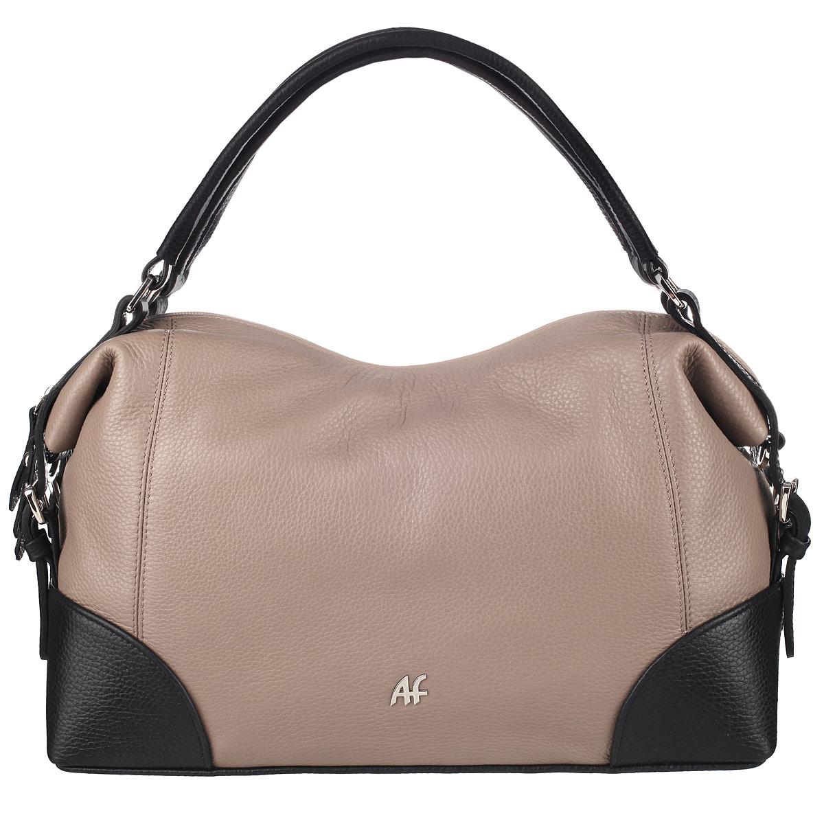 Сумка женская Afina, цвет: капучино, черный. 177177Изысканная женская сумка Афина выполнена из качественной натуральной кожи. Сумка закрывается на пластиковую застежку-молнию. Внутри - большое отделение и три кармана, один из которых на молнии. На задней стенке - втачной карман также на застежке-молнии. В комплекте съемный плечевой ремень регулируемой длины. Роскошная сумка внесет элегантные нотки в ваш образ и подчеркнет ваше отменное чувство стиля.