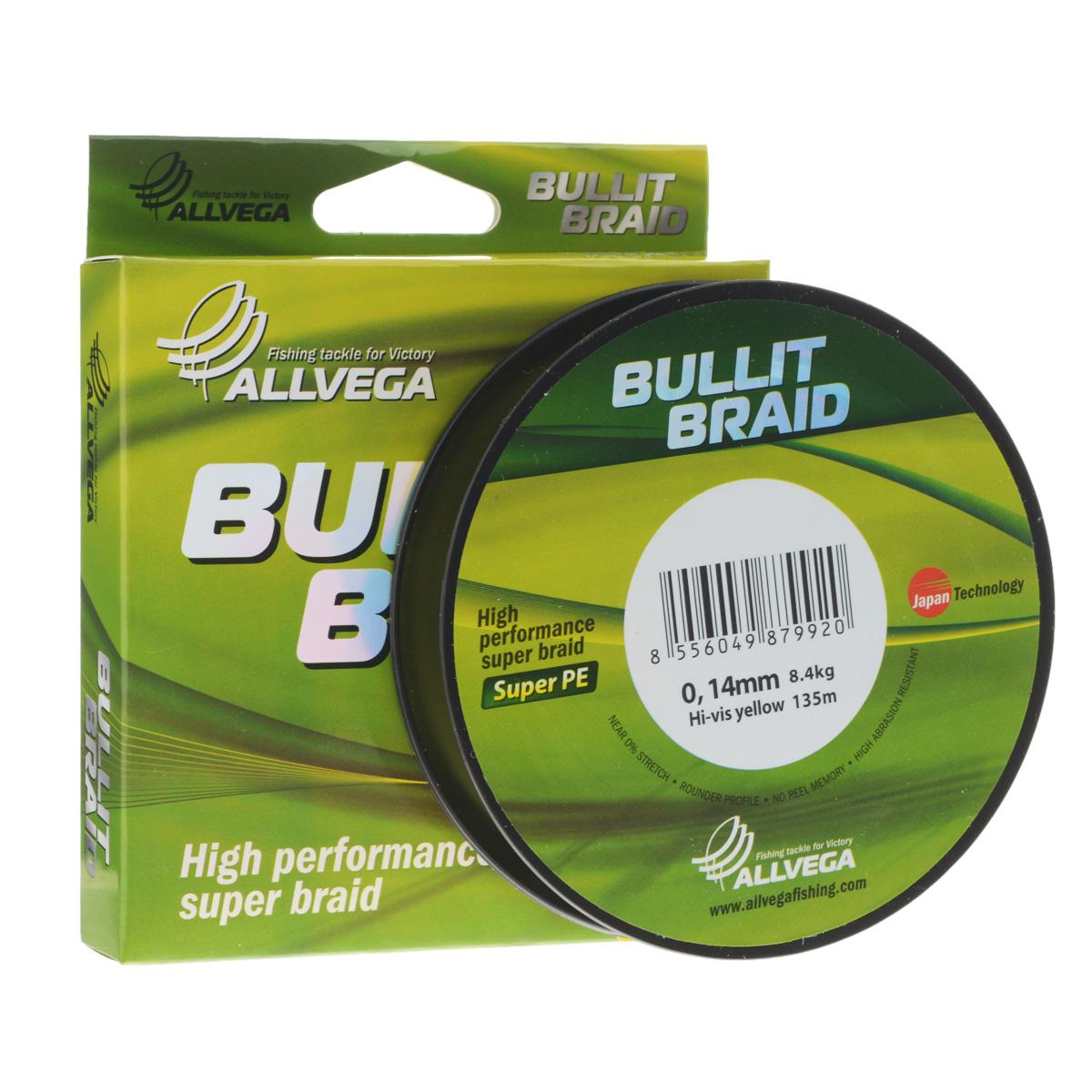 Леска плетеная Allvega Bullit Braid, цвет: ярко-желтый, 135 м, 0,14 мм, 8,4 кг21451Леска Allvega Bullit Braid с гладкой поверхностью и одинаковым сечением по всей длине обладает высокой износостойкостью. Благодаря микроволокнам полиэтилена (Super PE) леска имеет очень плотное плетение и не впитывает воду. Леску Allvega Bullit Braid можно применять в любых типах водоемов. Особенности: повышенная износостойкость; высокая чувствительность - коэффициент растяжения близок к нулю; отсутствует память; идеально гладкая поверхность позволяет увеличить дальность забросов; высокая прочность шнура на узлах.