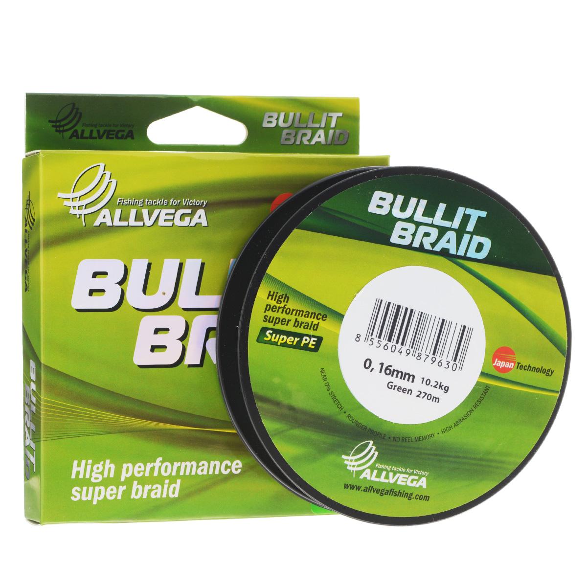 Леска плетеная Allvega Bullit Braid, цвет: темно-зеленый, 270 м, 0,16 мм, 10,2 кг25828Леска Allvega Bullit Braid с гладкой поверхностью и одинаковым сечением по всей длине обладает высокой износостойкостью. Благодаря микроволокнам полиэтилена (Super PE) леска имеет очень плотное плетение и не впитывает воду. Леску Allvega Bullit Braid можно применять в любых типах водоемов. Особенности: повышенная износостойкость; высокая чувствительность - коэффициент растяжения близок к нулю; отсутствует память; идеально гладкая поверхность позволяет увеличить дальность забросов; высокая прочность шнура на узлах.