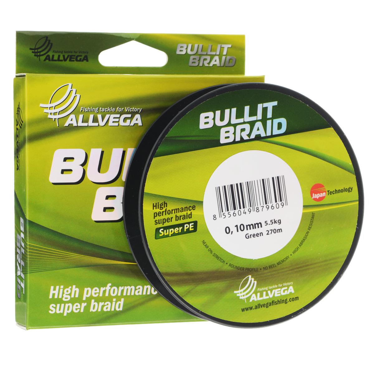 Леска плетеная Allvega Bullit Braid, цвет: темно-зеленый, 270 м, 0,10 мм, 5,5 кг25825Леска Allvega Bullit Braid с гладкой поверхностью и одинаковым сечением по всей длине обладает высокой износостойкостью. Благодаря микроволокнам полиэтилена (Super PE) леска имеет очень плотное плетение и не впитывает воду. Леску Allvega Bullit Braid можно применять в любых типах водоемов. Особенности: повышенная износостойкость; высокая чувствительность - коэффициент растяжения близок к нулю; отсутствует память; идеально гладкая поверхность позволяет увеличить дальность забросов; высокая прочность шнура на узлах.