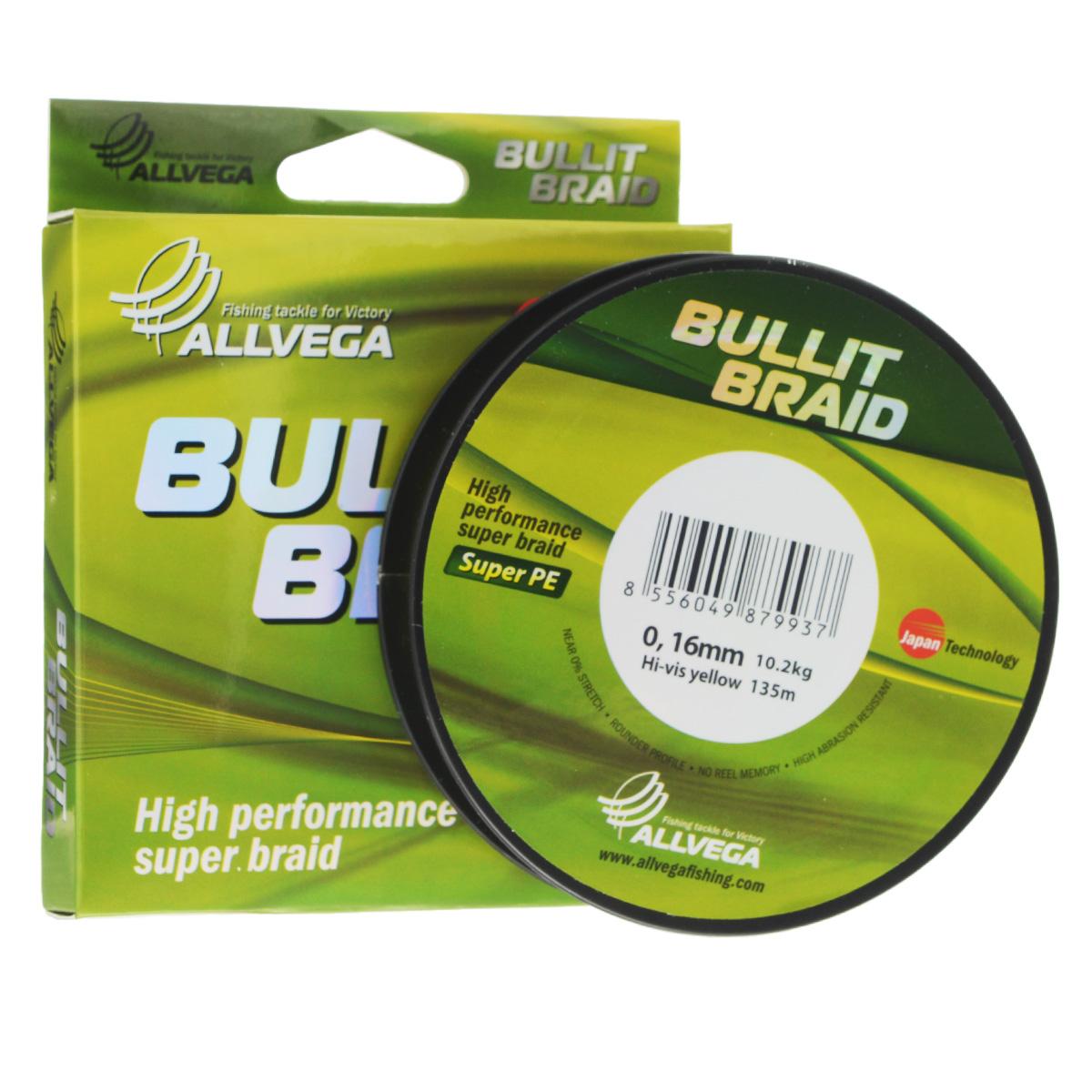Леска плетеная Allvega Bullit Braid, цвет: ярко-желтый, 135 м, 0,16 мм, 10,2 кг21452Леска Allvega Bullit Braid с гладкой поверхностью и одинаковым сечением по всей длине обладает высокой износостойкостью. Благодаря микроволокнам полиэтилена (Super PE) леска имеет очень плотное плетение и не впитывает воду. Леску Allvega Bullit Braid можно применять в любых типах водоемов. Особенности: повышенная износостойкость; высокая чувствительность - коэффициент растяжения близок к нулю; отсутствует память; идеально гладкая поверхность позволяет увеличить дальность забросов; высокая прочность шнура на узлах.