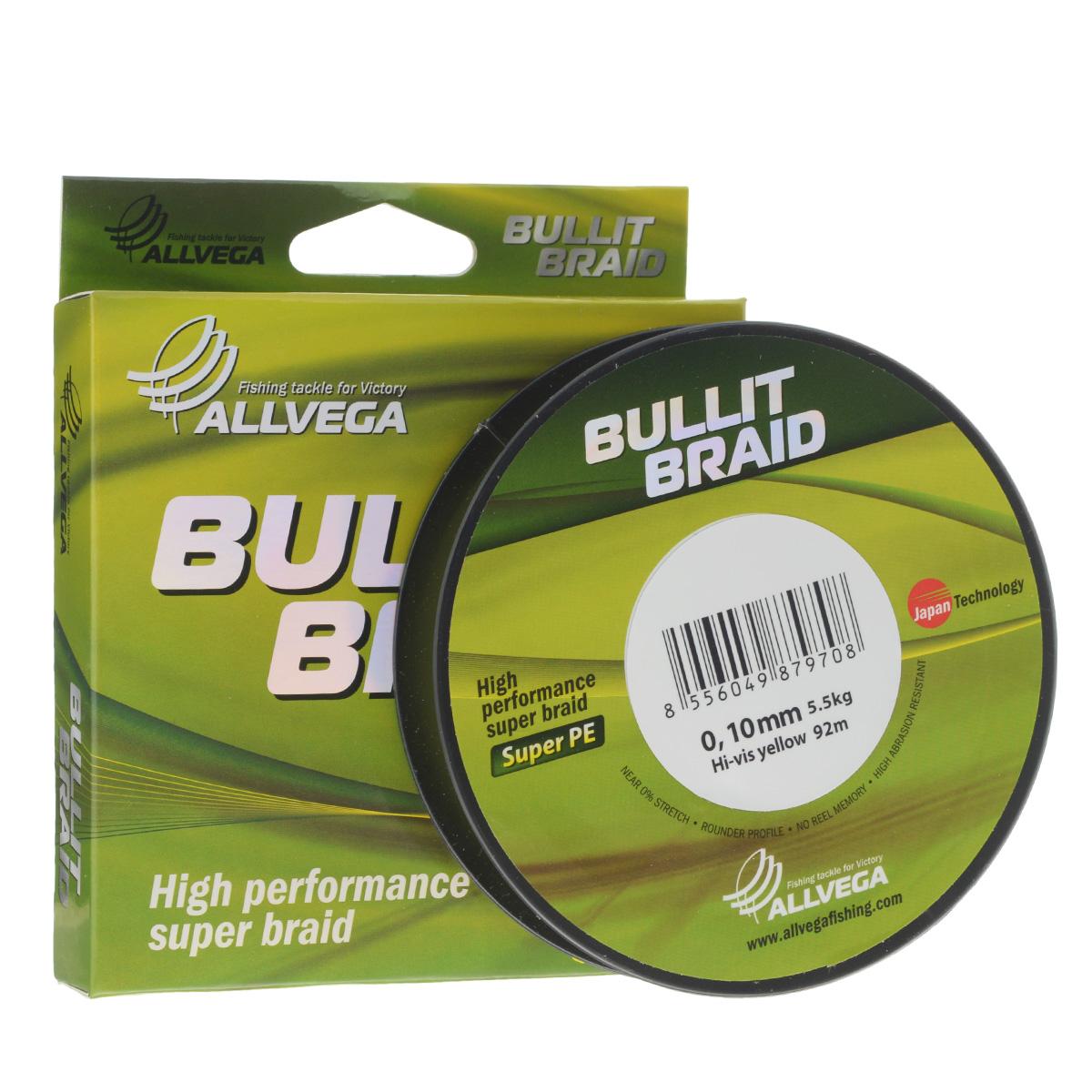 Леска плетеная Allvega Bullit Braid, цвет: ярко-желтый, 92 м, 0,10 мм, 5,5 кг21429Леска Allvega Bullit Braid с гладкой поверхностью и одинаковым сечением по всей длине обладает высокой износостойкостью. Благодаря микроволокнам полиэтилена (Super PE) леска имеет очень плотное плетение и не впитывает воду. Леску Allvega Bullit Braid можно применять в любых типах водоемов. Особенности: повышенная износостойкость; высокая чувствительность - коэффициент растяжения близок к нулю; отсутствует память; идеально гладкая поверхность позволяет увеличить дальность забросов; высокая прочность шнура на узлах.