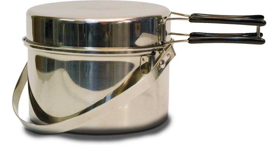Набор посуды Canadian Camper CC-PF290, 2 предмета32100037В набор посуды Canadian Camper CC-PF095 входит котелок и сковорода. Предметы набора выполнены из высококачественной нержавеющей стали. Сковорода оснащена складными ручками, покрытыми теплоизоляционным материалом. Котелок также оснащен складной ручкой из нержавеющей стали. Сковороду можно использовать как крышку для котелка. В комплекте сетчатая сумка для переноски и хранения. Диаметр сковороды: 20,5 см. Высота сковороды: 4,2 см. Диаметр котелка: 21 см. Объем котелка: 2,9 л. Высота котелка: 9,5 см.