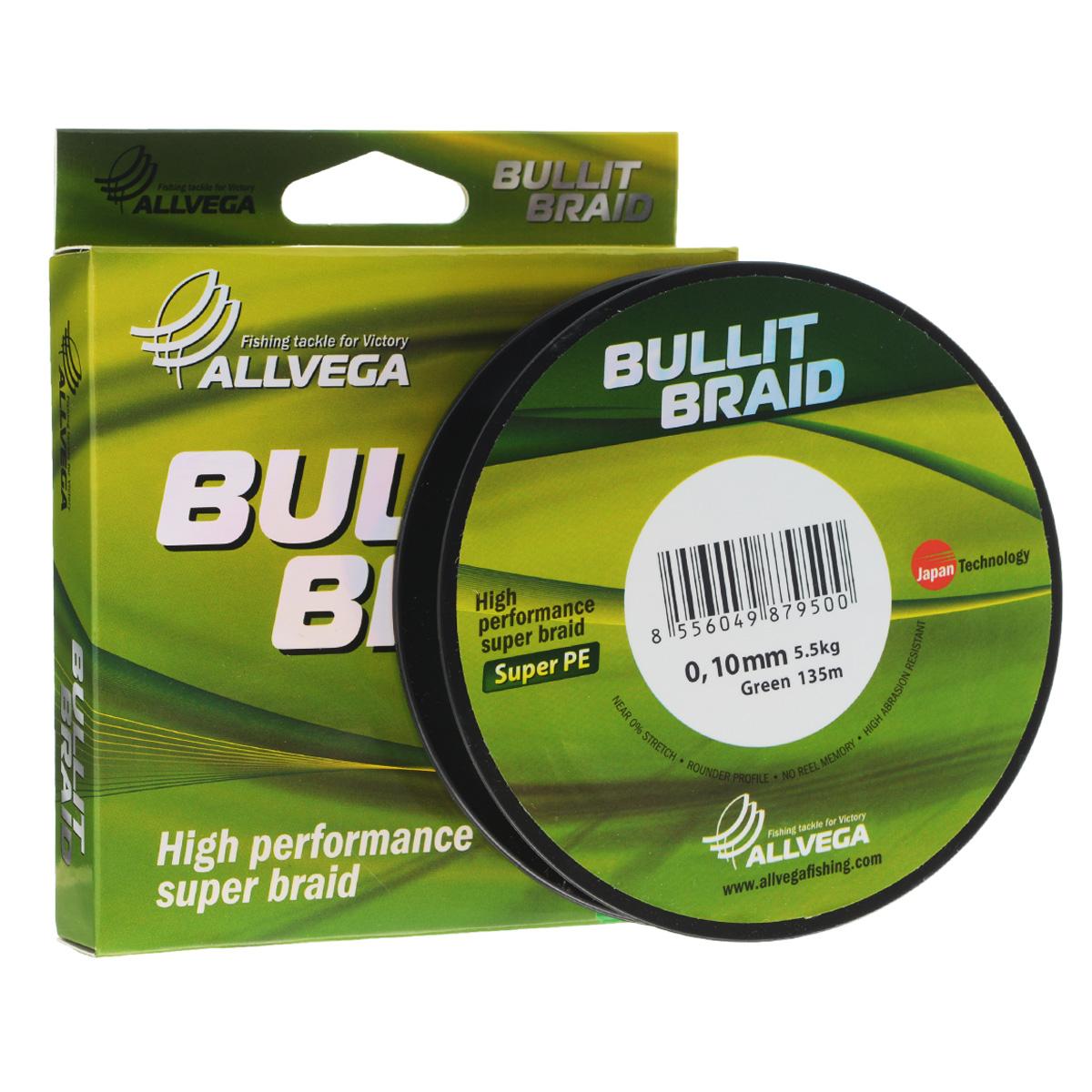 Леска плетеная Allvega Bullit Braid, цвет: темно-зеленый, 135 м, 0,10 мм, 5,5 кг21439Леска Allvega Bullit Braid с гладкой поверхностью и одинаковым сечением по всей длине обладает высокой износостойкостью. Благодаря микроволокнам полиэтилена (Super PE) леска имеет очень плотное плетение и не впитывает воду. Леску Allvega Bullit Braid можно применять в любых типах водоемов. Особенности: повышенная износостойкость; высокая чувствительность - коэффициент растяжения близок к нулю; отсутствует память; идеально гладкая поверхность позволяет увеличить дальность забросов; высокая прочность шнура на узлах.