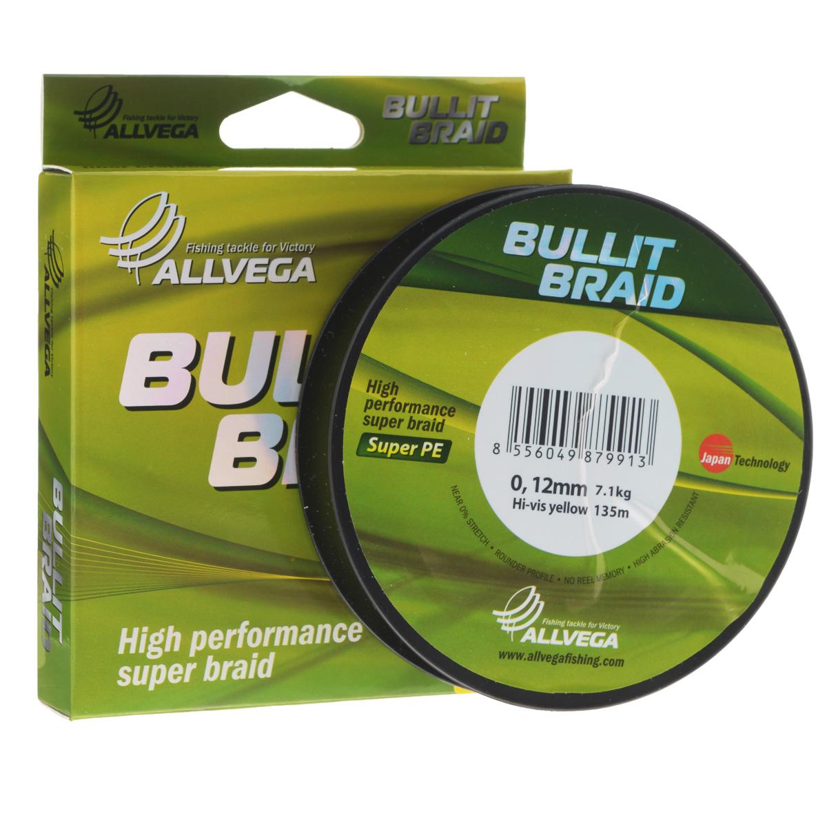 Леска плетеная Allvega Bullit Braid, цвет: ярко-желтый, 135 м, 0,12 мм, 7,1 кг21450Леска Allvega Bullit Braid с гладкой поверхностью и одинаковым сечением по всей длине обладает высокой износостойкостью. Благодаря микроволокнам полиэтилена (Super PE) леска имеет очень плотное плетение и не впитывает воду. Леску Allvega Bullit Braid можно применять в любых типах водоемов. Особенности: повышенная износостойкость; высокая чувствительность - коэффициент растяжения близок к нулю; отсутствует память; идеально гладкая поверхность позволяет увеличить дальность забросов; высокая прочность шнура на узлах.