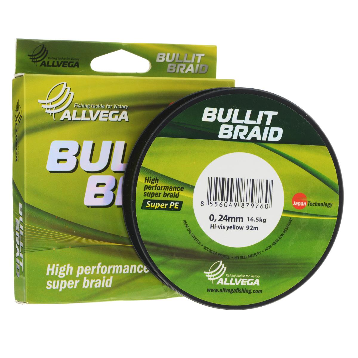 Леска плетеная Allvega Bullit Braid, цвет: ярко-желтый, 92 м, 0,24 мм, 16,5 кг21435Леска Allvega Bullit Braid с гладкой поверхностью и одинаковым сечением по всей длине обладает высокой износостойкостью. Благодаря микроволокнам полиэтилена (Super PE) леска имеет очень плотное плетение и не впитывает воду. Леску Allvega Bullit Braid можно применять в любых типах водоемов. Особенности: повышенная износостойкость; высокая чувствительность - коэффициент растяжения близок к нулю; отсутствует память; идеально гладкая поверхность позволяет увеличить дальность забросов; высокая прочность шнура на узлах.