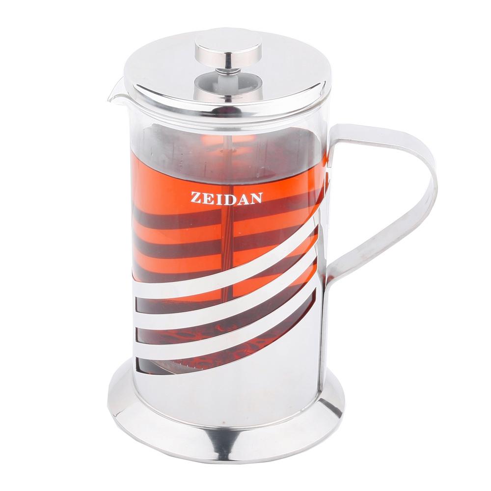 Френч-пресс Zeidan, 350 млZ-4064Френч-пресс Zeidan представляет собой гибрид заварочного чайника и кофейника. Колба выполнена из жаропрочного стекла, корпус, крышка и поршень изготовлены из нержавеющей стали. Изделие легко разбирается и моется. Прозрачные стенки чайника дают возможность наблюдать за насыщением напитка, а поршень позволяет с легкостью отжать самый сок от заварки и получить напиток с насыщенным вкусом. Заварочный чайник - постоянно используемый предмет посуды, который необходим на каждой кухне. Френч-пресс Zeidan займет достойное место среди аксессуаров на вашей кухне. Можно мыть в посудомоечной машине. Диаметр (по верхнему краю): 7,5 см. Высота чайника: 18,5 см. Объем: 350 мл.