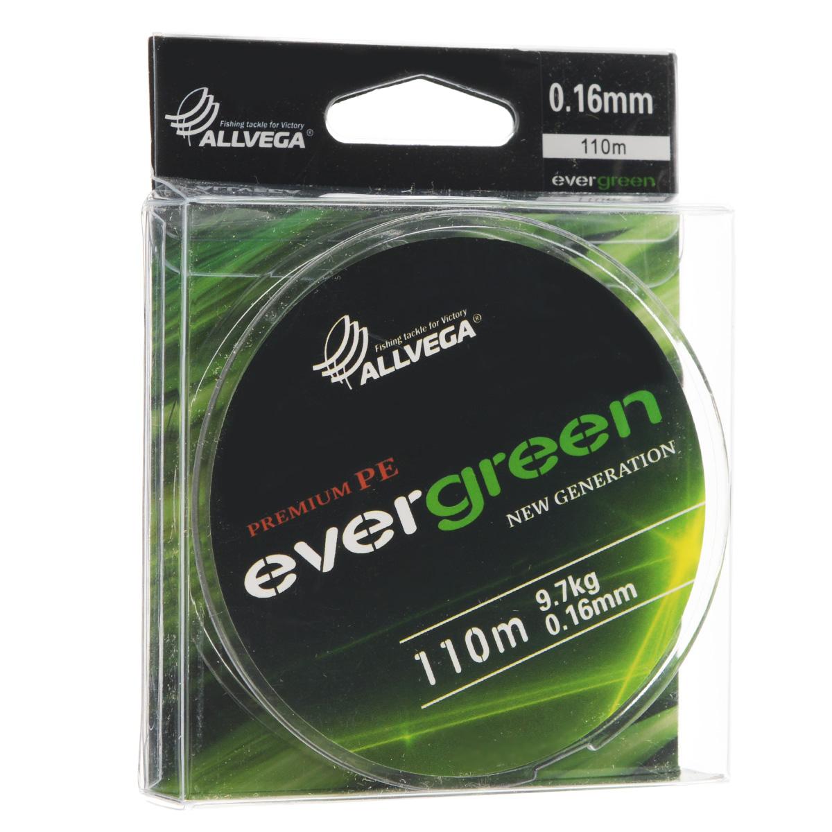Леска плетеная Allvega Evergreen, цвет: темно-зеленый, 110 м, 0,16 мм, 9,7 кг46928Плетеная леска Allvega Evergreen очень прочная и способна выдержать сильные нагрузки. Благодаря высококачественному сырью леска Allvega Allvega Evergreen максимально устойчива к любым погодным условиям и особенностям каждого водоема. При традиционных методах производства плетеные шнуры со временем теряют свой цвет (покрытие), а вместе с ним и часть своих полезных физических свойств. Революционно новый подход в технологии изготовления лесок Allvega Evergreen позволяет забыть о проблеме потери цвета в процессе использования шнура. Он всегда будет зеленым - он просто не может быть другим!
