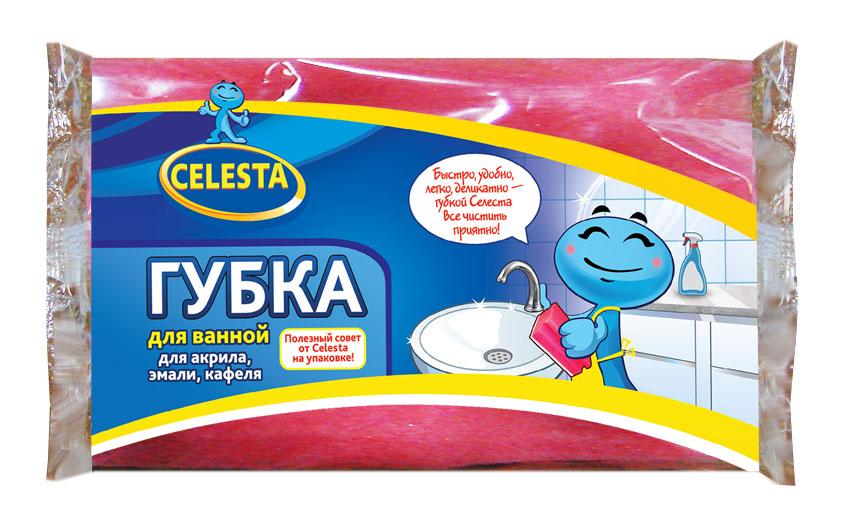 Губка для мытья ванной Celesta, цвет: розовый4499Губка для ванной Celesta, изготовленная из поролона и фибры, бережно и чисто поможет помыть ванну из акрила, эмали, кафеля. Жесткий слой легко справляется с сильными загрязнениями.