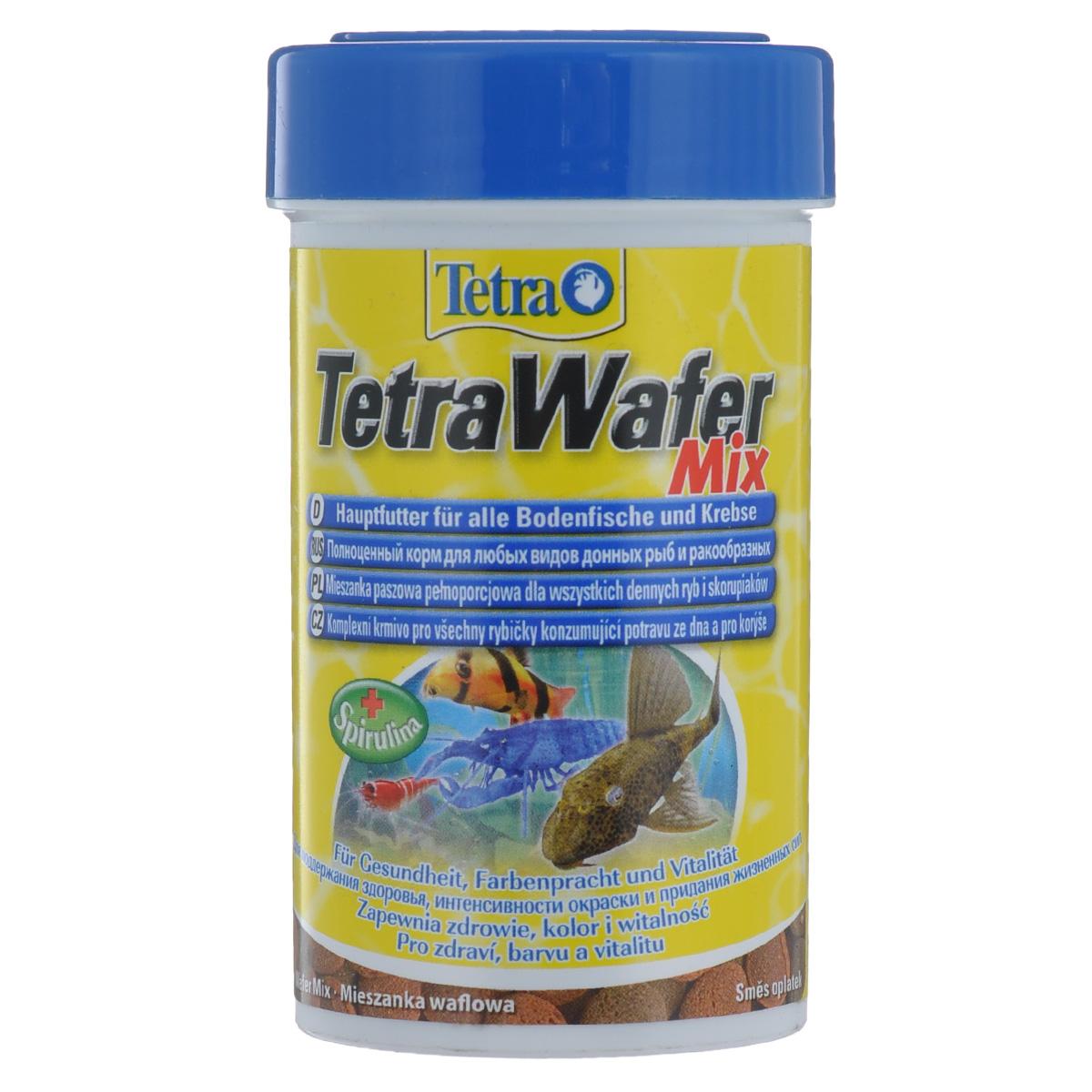 Корм сухой TetraWafer Mix, для всех донных рыб и ракообразных, в виде пластинок, 100 мл140066TetraWafer Mix - полноценный премиум-корм, богатый питательными веществами, который обеспечивает здоровье, окрас и жизненную силу маленьким донным рыбкам и ракообразным. Сочетание двух различных пластинок гарантирует разнообразное и оптимальное кормление. Твердые ваферсы имеют размер около 0,4 см в диаметре и поэтому обеспечивают естественное кормление. Благодаря своей плотной структуре ваферсы не загрязняют воду. Рекомендации по кормлению: кормить несколько раз в день маленькими порциями. Характеристики: Состав: рыба и рыбные продукты, растительные экстракты белка, зерновые, растительные продукты, моллюски и ракообразные, дрожжи, водоросли (Спирулина Максима 1,5%), минеральные вещества, жиры и масла. Пищевая ценность: сырой белок - 45%, сырые масла и жиры - 6%, волокно - 2%, влага - 9%. Добавки: витамин А 28460 МЕ/кг, витамин Д3 1770 МЕ/кг, Е5 марганец 64 мг/кг, Е6 цинк 38 мг/кг, Е1 железо 25 мг/кг, Е3 кобальт 0,5...
