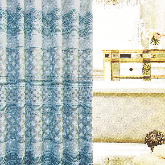 Штора для ванной Fresh Code Голубой орнамент, цвет: серый, голубой, 180 см х 180 см56954Штора для душа Fresh Code Голубой орнамент из 100% плотного полиэстера с водоотталкивающей поверхностью идеально защищает ванную комнату от брызг. Прочные отверстия для колец позволяют надежно закрепить штору на штанге, а гибкий металлический утяжелитель в нижней кромке поддерживает ее в расправленной форме. Штору можно легко почистить мягкой губкой с мылом или постирать ее с мягким моющим средством в деликатном режиме.