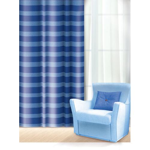 Штора Home Queen Нуар, на петлях, цвет: синий, высота 275 см65002Изящная штора Home Queen Нуар выполнена из полиэстера. Полупрозрачная ткань, приятная цветовая гамма, принт в полоску привлекут к себе внимание и органично впишутся в интерьер помещения. Такая штора идеально подходит для солнечных комнат. Мягко рассеивая прямые лучи, она хорошо пропускает дневной свет и защищает от посторонних глаз. Отличное решение для многослойного оформления окон. Эта штора будет долгое время радовать вас и вашу семью! Штора крепится на карниз при помощи петель.