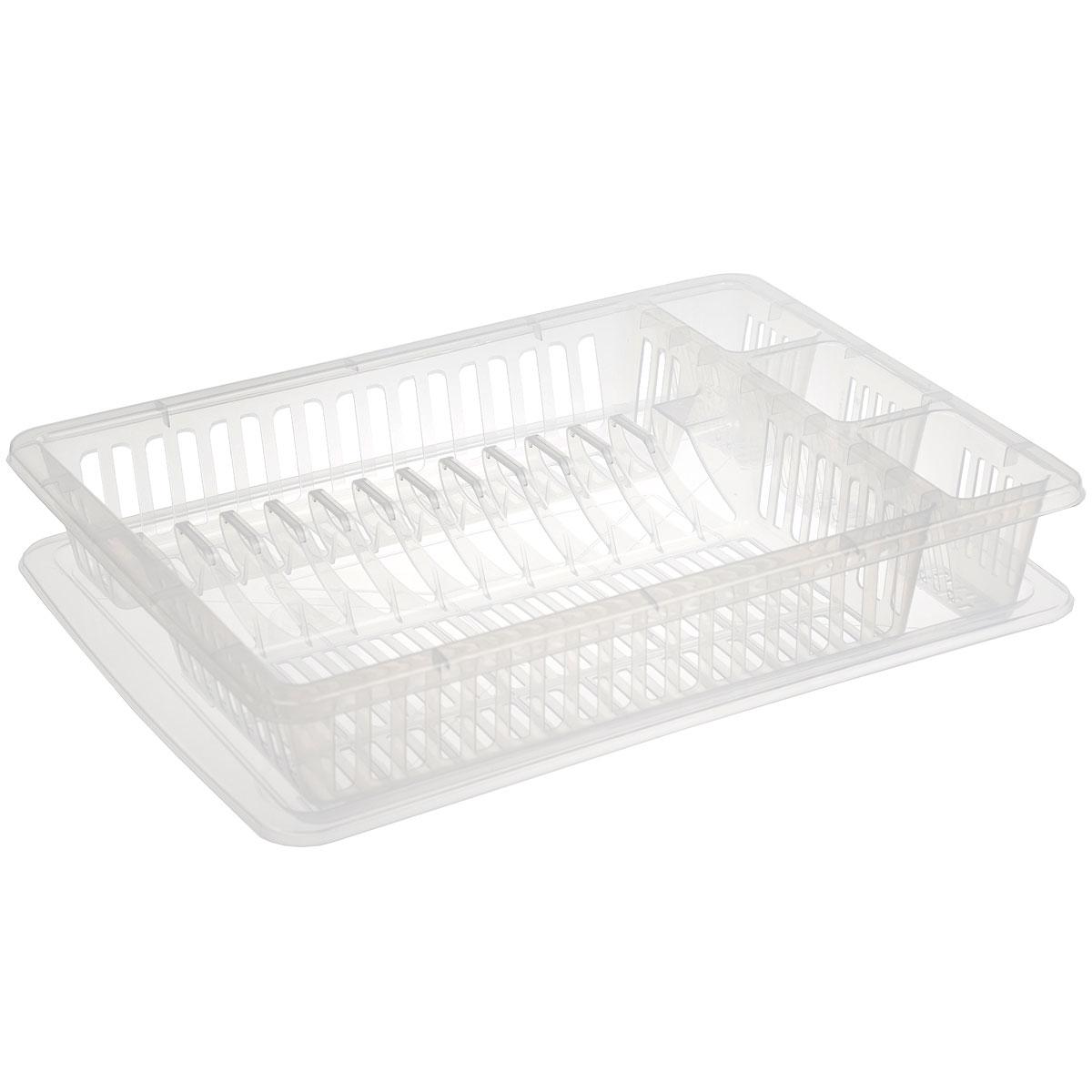 Сушилка для посуды Dunya Plastik, с поддоном, цвет: прозрачный, 46,5 х 37 х 9 см7307Сушилка Dunya Plastik, выполненная из прочного пластика, представляет собой решетку с ячейками, в которые помещается посуда: тарелки, кружки, ложки, ножи и другие столовые приборы. Изделие оснащено пластиковым поддоном для стекания воды. Сушилка Dunya Plastik не займет много места на вашей кухне, а вы сможете разместить на ней большое количество предметов. Сушилку можете установить в любом удобном месте. Компактные размеры и оригинальный дизайн выделяют эту сушку из ряда подобных. Размер: 46,5 см х 37 см х 9 см.