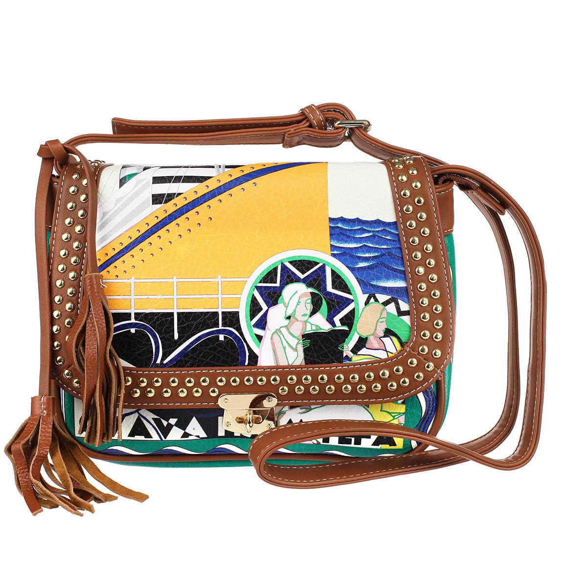 Сумка женская Dino Ricci, цвет: зеленый, оранжевый. 2001-195-12001-195-1Оригинальная сумка кросс-боди, выполненная из высококачественной искусственной кожи. Модель закрывается на застежку молния и клапан, на задней стенке карман, также на молнии, длинный ремень. Внутри одно основное отделение с большим карманом на молнии, а также внутренние карманы для документов и мобильного телефона. Клапан украшен металлическими заклепками. Принт сумки выполнен в морском стиле. Такая сумка позволит вам подчеркнуть свой стиль и особенный статус.