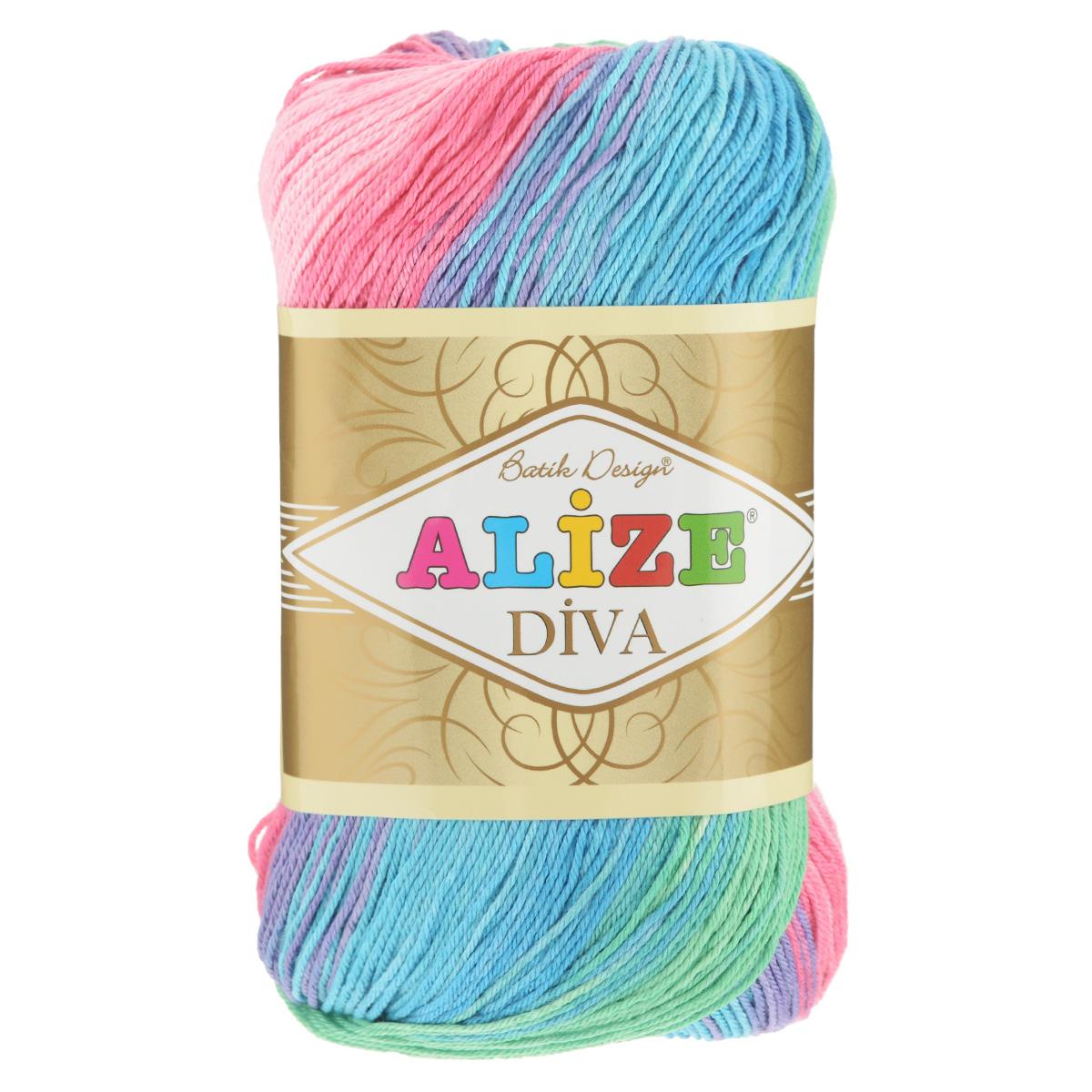 Пряжа для вязания Alize Diva. Batik Design, цвет: зеленый, розовый, голубой (4537), 350 м, 100 г, 5 шт364119_4537Пряжа для вязания Alize Diva. Batik Design- это тщательно обработанная акриловая пряжа, которая приобретает вид мерсеризованной нити с эффектом шелка. Пряжа обладает отличными свойствами: мягкая, воздухопроницаемая, прочная. Пряжа из микрофибры считается материалом нового поколения. Легкая шелковистая пряжа удлиненной секции окрашивания для весенних или летних вещей. Приятная на ощупь, гигроскопичная она подойдет для сарафанов, туник, платьев, легких костюмов, кофт, шалей и накидок. Пряжа не скатывается, не вызывает аллергию, не линяет и не оставляет ворсинок на другой одежде. Рекомендации по уходу: деликатная ручная стирка при 30°С, не отжимать в стиральной машине, не отбеливать хлорсодержащими веществами. Глажение на минимальной температуре. Сушите на горизонтальной поверхности: предварительно придав изделию естественную форму. Рекомендованный размер спиц: №2,5-3,5. Рекомендованный размер крючка: №1-3.