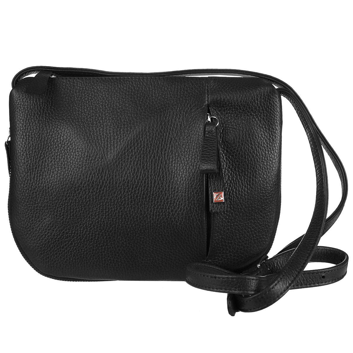 Сумка женская Afina, цвет: темно-коричневый. 182182Изысканная женская сумка Афина выполнена из качественной натуральной кожи. Сумка закрывается на пластиковую застежку-молнию. Внутри одно отделение и три кармана, один из которых на молнии. На задней стенке - втачной карман, на передней стороне сумки также вшит карман на молнии вертикально. В комплекте съемный плечевой ремень регулируемой длины и брелок из кожи. Декоративная металлическая молния по краю сумки позволяет регулировать вместительность и объем сумки. Роскошная сумка внесет элегантные нотки в ваш образ и подчеркнет ваше отменное чувство стиля.