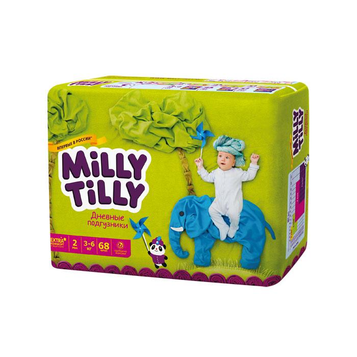 Milly Tilly Подгузники дневные Mini, 3-6 кг, 68 шт0074Нежный материал дневного подгузника Milly Tilly в виде сот прилегает к коже и дарит малышу невероятный комфорт. Данная структура верхнего слоя в виде сот позволяет свободно циркулировать воздуху внутри подгузника. Эластичные поясочки надежно фиксируют его, при этом не стесняют движений малыша. Нежные оборочки сделаны из трех мягких резиночек, которые не натирают ножки. Застежки Magic Fix - настолько крепкие, что их можно пристёгивать и отстёгивать много раз для лучшей фиксации. Система Liquid Security позволяет равномерно распределять влагу, без комочков. Кожа малыша надолго остаётся сухой и нежной. Цифры на пояске помогут симметрично застегнуть подгузник. На каждом подгузнике смешной герой развеселит малыша и поднимет настроение маме. Проверено дерматологами.