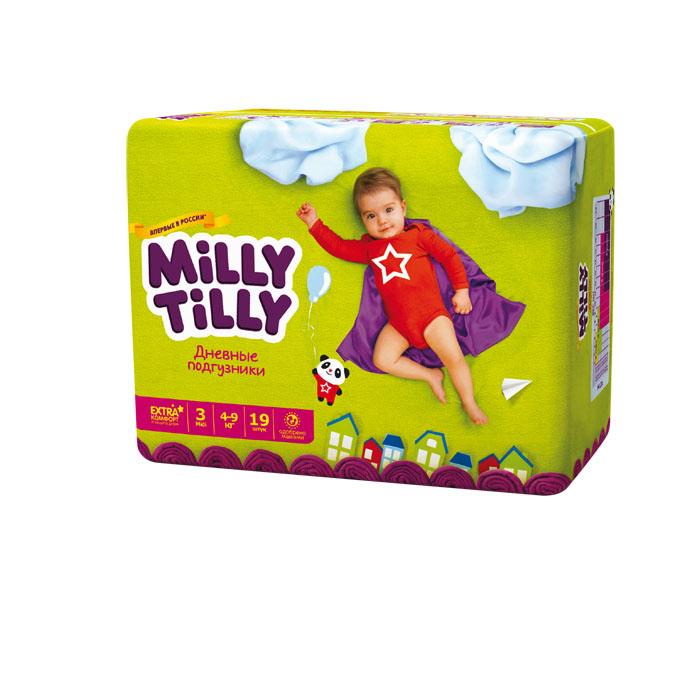 Milly Tilly Подгузники дневные Midi, 4-9 кг, 19 шт0081Нежный материал дневного подгузника Milly Tilly в виде сот прилегает к коже и дарит малышу невероятный комфорт. Данная структура верхнего слоя в виде сот позволяет свободно циркулировать воздуху внутри подгузника. Эластичные поясочки надежно фиксируют его, при этом не стесняют движений малыша. Нежные оборочки сделаны из трех мягких резиночек, которые не натирают ножки. Застежки Magic Fix - настолько крепкие, что их можно пристёгивать и отстёгивать много раз для лучшей фиксации. Система Liquid Security позволяет равномерно распределять влагу, без комочков. Кожа малыша надолго остаётся сухой и нежной. Цифры на пояске помогут симметрично застегнуть подгузник. На каждом подгузнике смешной герой развеселит малыша и поднимет настроение маме. Проверено дерматологами.