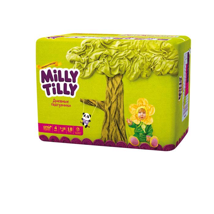 Milly Tilly Подгузники дневные Maxi, 7-18 кг, 18 шт0111Нежный материал дневного подгузника Milly Tilly в виде сот прилегает к коже и дарит малышу невероятный комфорт. Данная структура верхнего слоя в виде сот позволяет свободно циркулировать воздуху внутри подгузника. Эластичные поясочки надежно фиксируют его, при этом не стесняют движений малыша. Нежные оборочки сделаны из трех мягких резиночек, которые не натирают ножки. Застежки Magic Fix - настолько крепкие, что их можно пристёгивать и отстёгивать много раз для лучшей фиксации. Система Liquid Security позволяет равномерно распределять влагу, без комочков. Кожа малыша надолго остаётся сухой и нежной. Цифры на пояске помогут симметрично застегнуть подгузник. На каждом подгузнике смешной герой развеселит малыша и поднимет настроение маме. Проверено дерматологами.