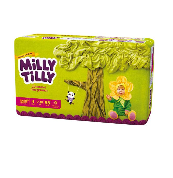 Milly Tilly Подгузники дневные Maxi, 7-18 кг, 58 шт0135Нежный материал дневного подгузника Milly Tilly в виде сот прилегает к коже и дарит малышу невероятный комфорт. Данная структура верхнего слоя в виде сот позволяет свободно циркулировать воздуху внутри подгузника. Эластичные поясочки надежно фиксируют его, при этом не стесняют движений малыша. Нежные оборочки сделаны из трех мягких резиночек, которые не натирают ножки. Застежки Magic Fix - настолько крепкие, что их можно пристёгивать и отстёгивать много раз для лучшей фиксации. Система Liquid Security позволяет равномерно распределять влагу, без комочков. Кожа малыша надолго остаётся сухой и нежной. Цифры на пояске помогут симметрично застегнуть подгузник. На каждом подгузнике смешной герой развеселит малыша и поднимет настроение маме. Проверено дерматологами.