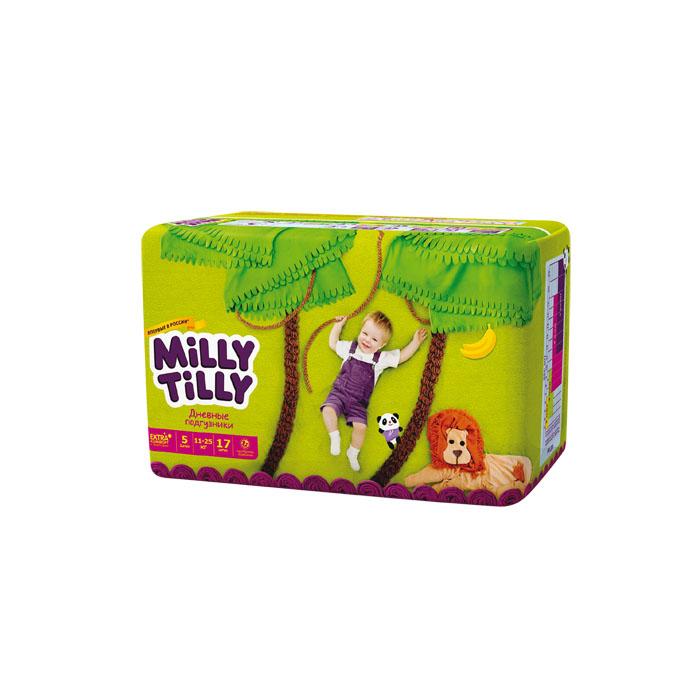 Milly Tilly Подгузники дневные Junior, 11-25 кг, 17 шт0142Нежный материал дневного подгузника Milly Tilly в виде сот прилегает к коже и дарит малышу невероятный комфорт. Данная структура верхнего слоя в виде сот позволяет свободно циркулировать воздуху внутри подгузника. Эластичные поясочки надежно фиксируют его, при этом не стесняют движений малыша. Нежные оборочки сделаны из трех мягких резиночек, которые не натирают ножки. Застежки Magic Fix - настолько крепкие, что их можно пристёгивать и отстёгивать много раз для лучшей фиксации. Система Liquid Security позволяет равномерно распределять влагу, без комочков. Кожа малыша надолго остаётся сухой и нежной. Цифры на пояске помогут симметрично застегнуть подгузник. На каждом подгузнике смешной герой развеселит малыша и поднимет настроение маме. Проверено дерматологами.