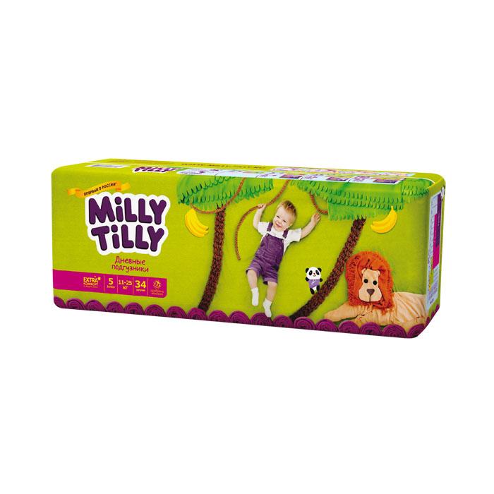 Milly Tilly Подгузники дневные Junior, 11-25 кг, 34 шт0159Нежный материал дневного подгузника Milly Tilly в виде сот прилегает к коже и дарит малышу невероятный комфорт. Данная структура верхнего слоя в виде сот позволяет свободно циркулировать воздуху внутри подгузника. Эластичные поясочки надежно фиксируют его, при этом не стесняют движений малыша. Нежные оборочки сделаны из трех мягких резиночек, которые не натирают ножки. Застежки Magic Fix - настолько крепкие, что их можно пристёгивать и отстёгивать много раз для лучшей фиксации. Система Liquid Security позволяет равномерно распределять влагу, без комочков. Кожа малыша надолго остаётся сухой и нежной. Цифры на пояске помогут симметрично застегнуть подгузник. На каждом подгузнике смешной герой развеселит малыша и поднимет настроение маме. Проверено дерматологами.