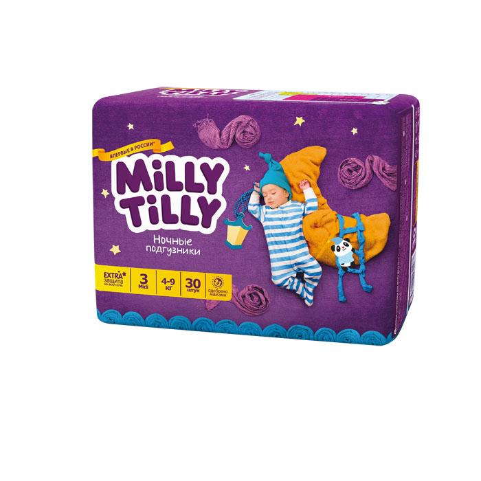 Milly Tilly Подгузники ночные Midi, 4-9 кг, 30 шт0173Ночные подгузники Milly Tilly разработаны специально для комфорта и крепкого сна малыша. Отличаются усиленной впитываемостью и повышенной защитой + 7 степеней комфорта. Нежный материал ночного подгузника в виде сот прилегает к коже и дарит малышу невероятный комфорт. Данная структура верхнего слоя в виде сот позволяет свободно циркулировать воздуху внутри подгузника. Эластичные поясочки надежно фиксируют его, при этом не стесняют движений малыша. Нежные оборочки сделаны из трех мягких резиночек, которые не натирают ножки. Застежки Magic Fix - настолько крепкие, что их можно пристёгивать и отстёгивать много раз для лучшей фиксации. Система Liquid Security позволяет равномерно распределять влагу, без комочков. Кожа малыша надолго остаётся сухой и нежной. Цифры на пояске помогут симметрично застегнуть подгузник. На каждом подгузнике смешной герой развеселит малыша и поднимет настроение маме. Проверено дерматологами.