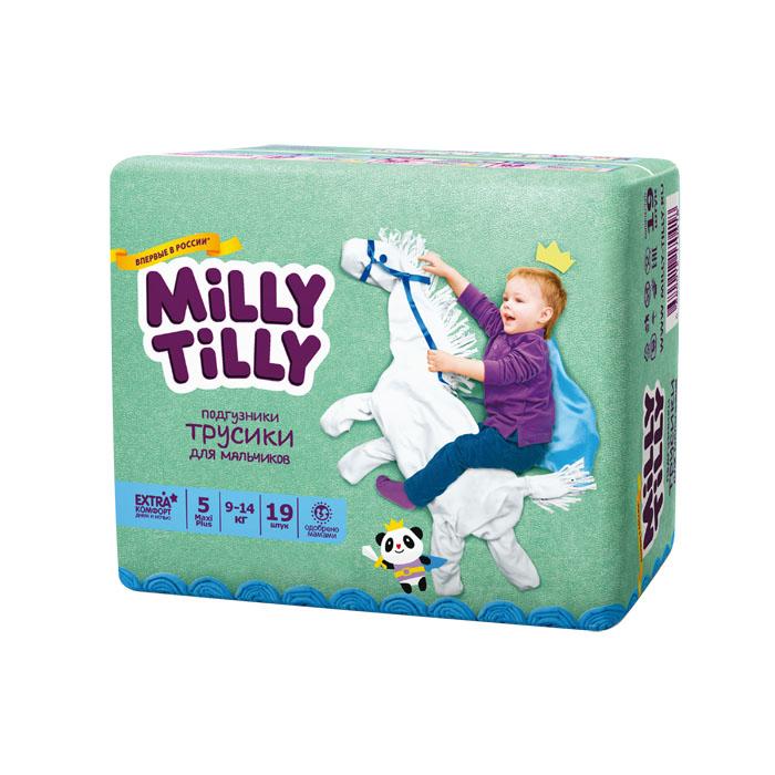 Подгузники-трусики для мальчиков Milly Tilly 5, 9-14 кг, 19 шт0418Отличие трусиков-подгузников для мальчиков и девочек: исходя из анатомических особенностей усилены разные зоны впитываемости, использован разный эмоциональный дизайн. Мягкий дышащий материал позволяет свободно циркулировать воздуху внутри подгузника. Комфорт в движении - супермягкий широкий поясок из многочисленных эластичных резиночек надежно фиксирует трусики и при этом не стесняют движений малыша. Комфортная защита - нежные оборочки настолько мягкие, что не натирают ножки даже у крепышей. Сухость без протеканий - высокие барьерчики надежно защищают от протекания, когда малыш спит или бодрствует. Усиленная защиат - супервпитывающий внутренний слой быстро превращает жидкость в гель без образования комочков. Кожа малыша надолго остается сухой и нежной. Комфорт в удовольствие - на каждом подгузнике-трусиках смешной герой развеселит малыша и поднимет настроение маме. Легко снимать - трусики удобно одевать через ножки и легко снимать, раскрепив...