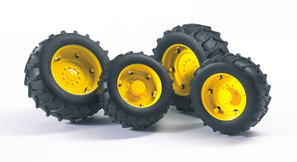 Bruder Аксессуар для машинок Super-Pro Шины для системы сдвоенных колес02-321Аксессуары для погрузчика Bruder - Super-Pro шины для системы сдвоенных колес, откроют новые горизонты игры с машинками для вашего ребенка. Аксессуар шины для системы сдвоенных колес с желтыми дисками - дополнительное навесное оборудование для техники Bruder, выполненное в масштабе 1:16. Оборудование устанавливается на соответствующие ему машины и трактора, определять подходит ли устройство к данной технике нужно по буквам, нанесенным на упаковку, этот аксессуар подойдет к технике у которой на упаковке нанесена буква А. Данный комплект устанавливается на стандартные колеса и служит для улучшения внедорожных качеств тракторов, позволяя им работать на мягких или сыпучих грунтах, передние колеса - диаметр 8 см., задние - 10 см.