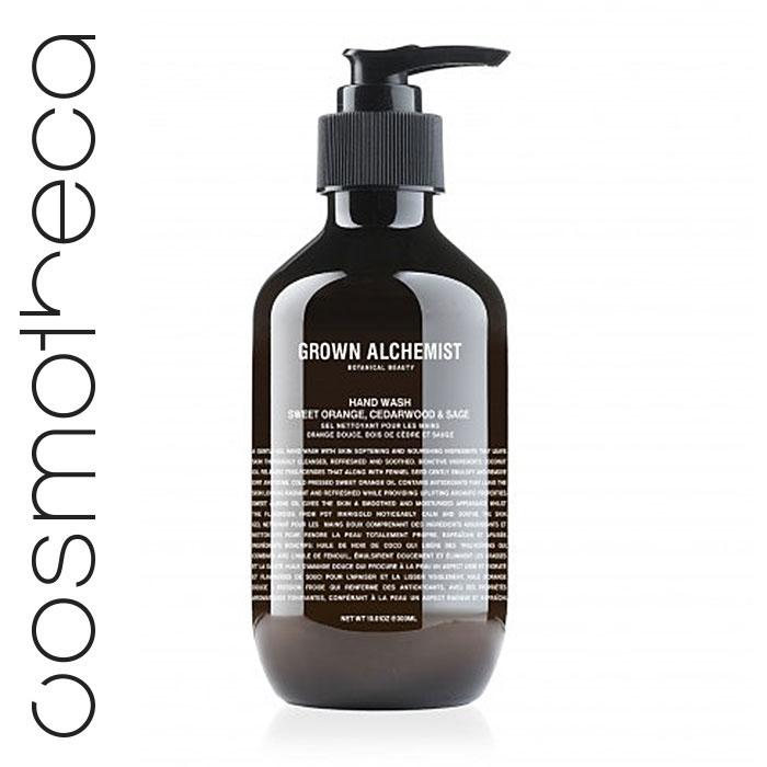 Grown Alchemist Жидкое мыло для рук Апельсин, кедр и шалфей, 300 млGRA0025Великолепно пенится, мягко и эффективно очищая кожу. Стимулирует циркуляцию. Повышает выработку липидов кожей. Успокаивает и смягчает кожу.