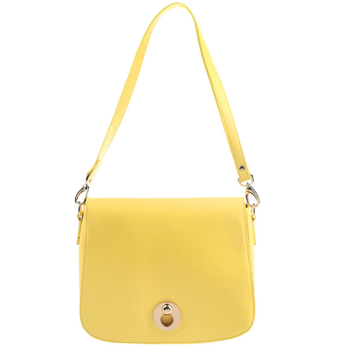 Сумка женская Stella Mazarini, цвет: светло-желтый. 0332-20332-2Ультрамодная женская сумка Stella Mazarini - лучший выбор для романтичных натур, девушек, ценящих современный стиль и элегантность. Сумка выполнена из высококачественной искусственной кожи в лаконичном стиле. Изделие закрывается широким клапаном на замок-защелку. Внутреннее отделение, разделенное средником на застежке-молнии, содержит два накладных кармана для мелочей и мобильного телефона и врезной карман на застежке-молнии. На обратной стороне расположен дополнительный карман на молнии. Сумка оснащена съемным плечевым ремнем на карабинах. Изделие упаковано в текстильный чехол. Изысканная сумка займет достойное место среди вашей коллекции аксессуаров.