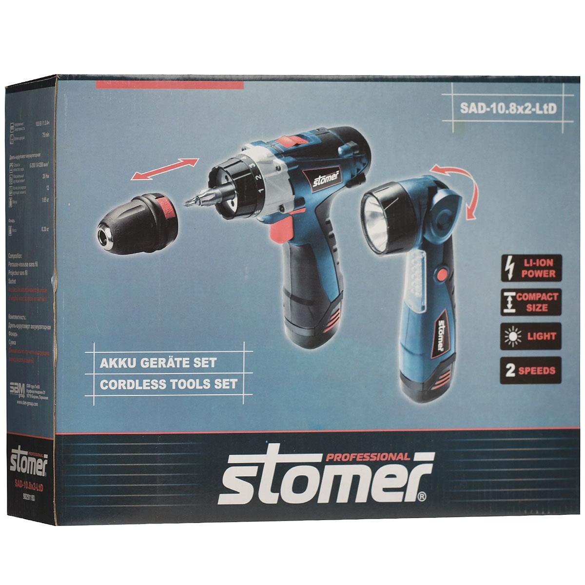 Набор аккумуляторных инструментов STOMER, 3 предмета98291193В быту пользоваться шуруповертом приходится не так часто, а вот фонариком гораздо чаще. Чаще всего, требуется отдельно покупать аккумулятор для шуруповерта и отдельно для фонаря. Сэкономить на этом, можно купив набор аккумуляторных инструментов Stomer SAD-10,8x2-LtD, ведь у них унифицированный аккумулятор. В комплекте идет компактный, профессиональный шуруповерт со съемным патроном. Съемный патрон дает возможность работать сразу с двумя насадками, например с битой и сверлом. Кроме того, сняв патрон, вы получаете очень компактный и легкий шуруповерт, который позволяет выполнять работы в стесненных условиях. Несмотря на компактные размеры шуруповерт обладает повышенным крутящим моментом (28 Нм) и энергоемким Li-on аккумулятором 1,3 Ач. Двухскоростной редуктор позволяет применять различные скорости к разным видам работ, например, пониженную - завинчивание, повышенную - сверление. При работе в темном месте вы не будете испытывать дискомфорт, так как у шуруповерта есть...